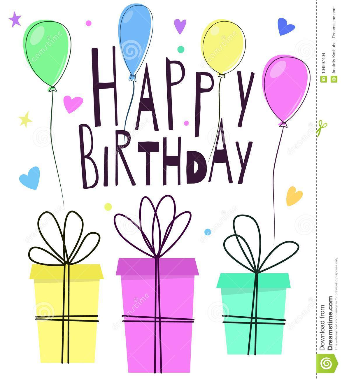 Cute Happy Birthday Greeting Card Design With Gift Boxes Inflated