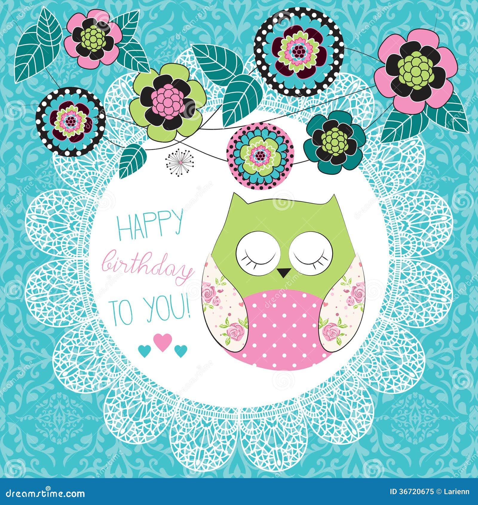 cute happy birthday owl illustration stock vector image 36720675
