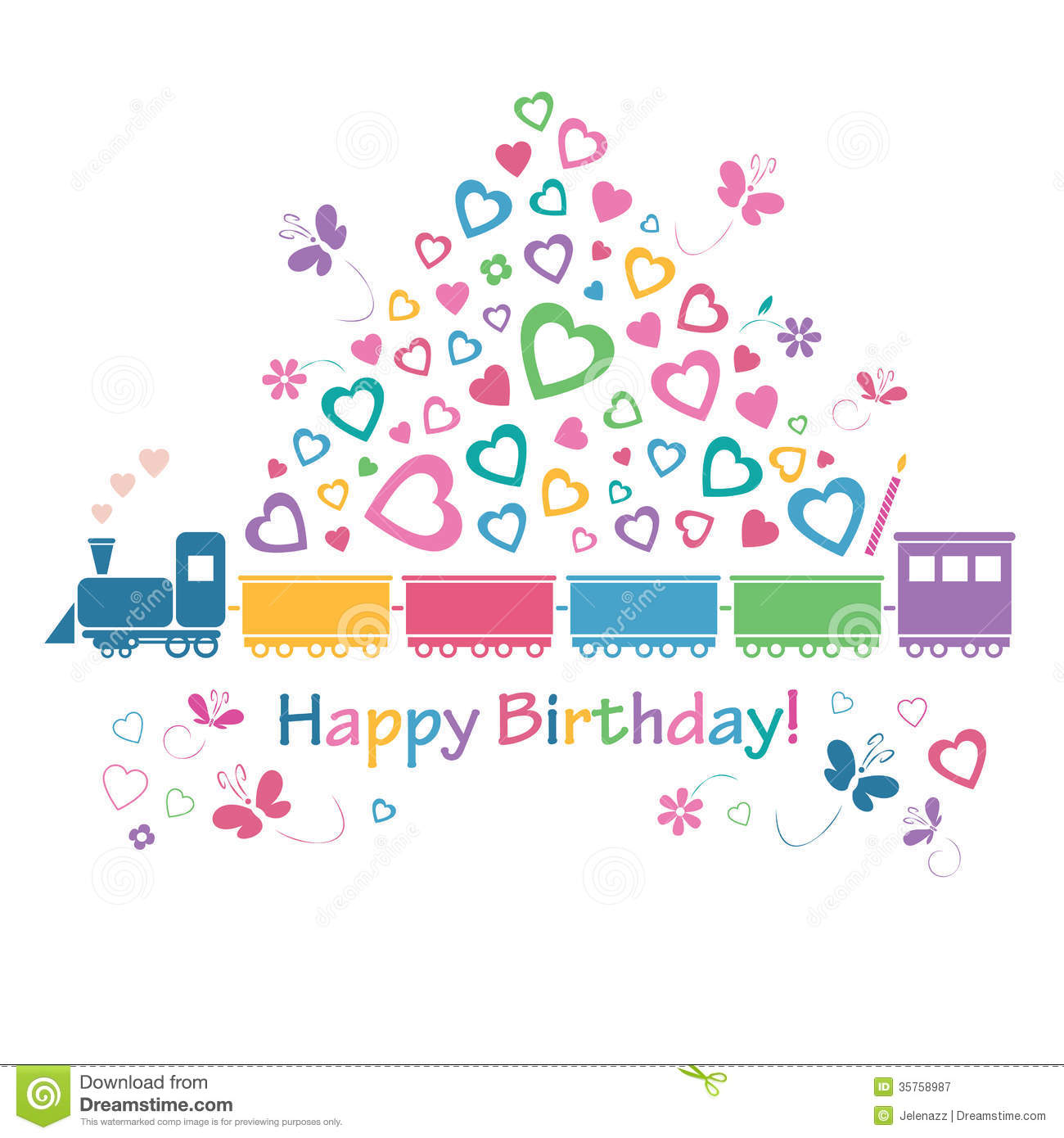 Cute Happy Birthday Train Card Stock Vector Illustration Of Pink