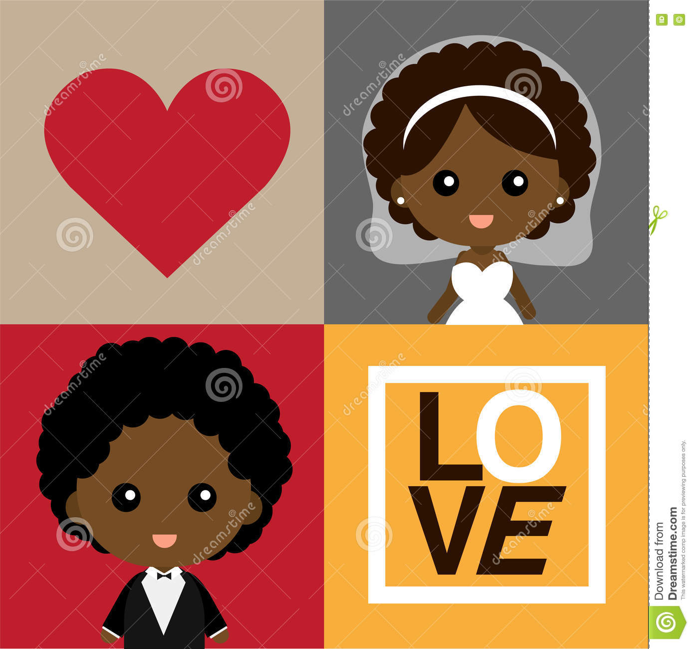Cute Happy Black Groom And Bride Stock Vector - Illustration of save ...