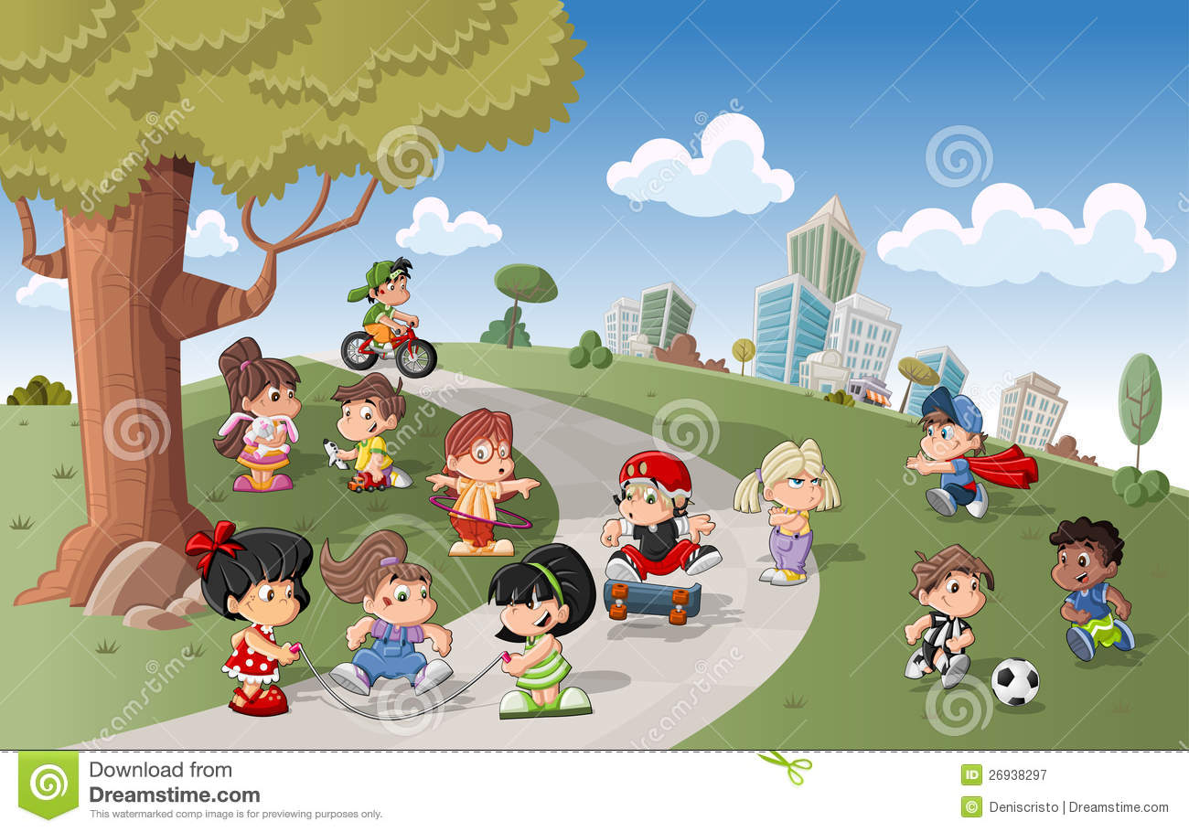 Cute Happy Cartoon Kids Playing Royalty Free Stock Photography - Image ...