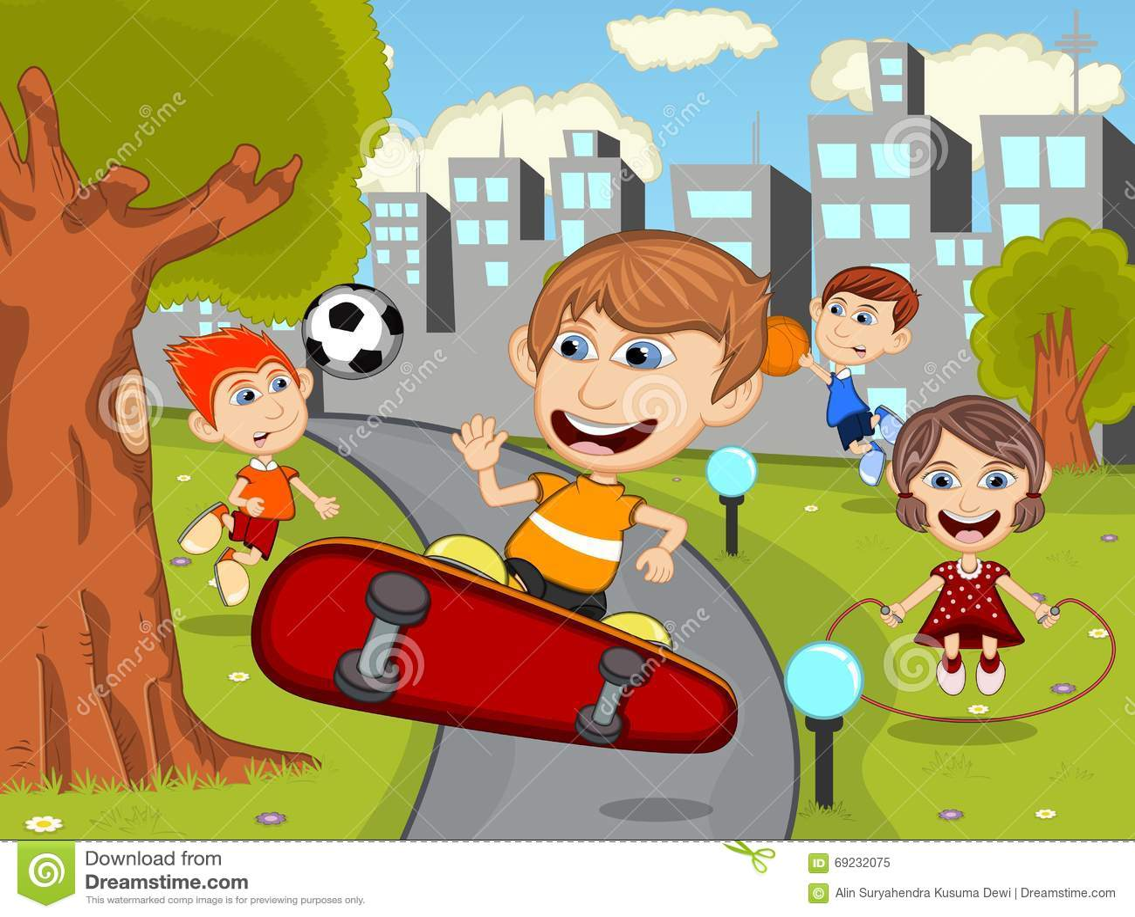 Cute Happy Cartoon Kids Playing Skate Board Soccer Jumping Rope