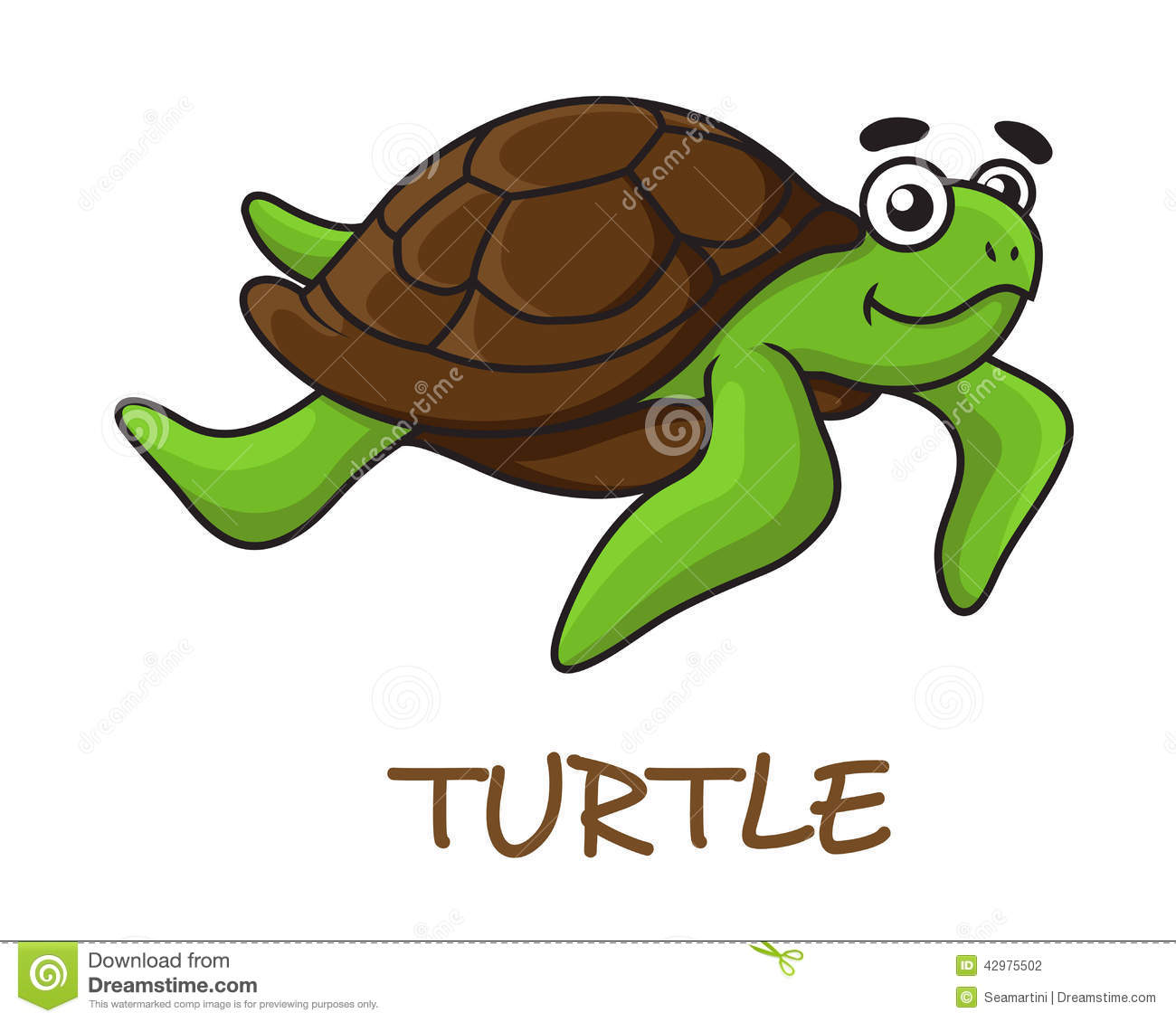 Cartoon Turtles Swimming Cute Happy Cartoon Turtle