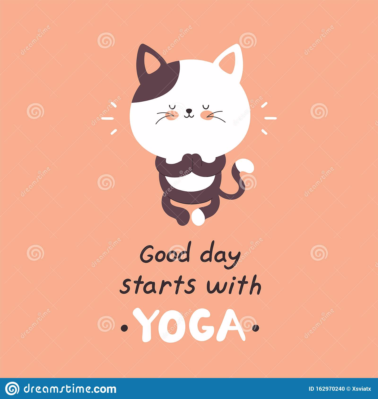 Cute Happy Cat Meditate In Yoga Stock Vector Illustration Of Doodle Meditation 162970240