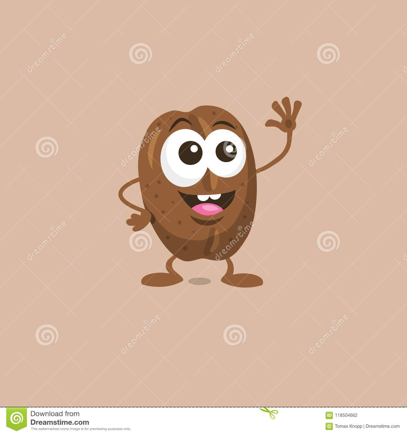 Download Cute Happy Coffee Bean Mascot Greeting Someone With Big Smile Stock Illustration