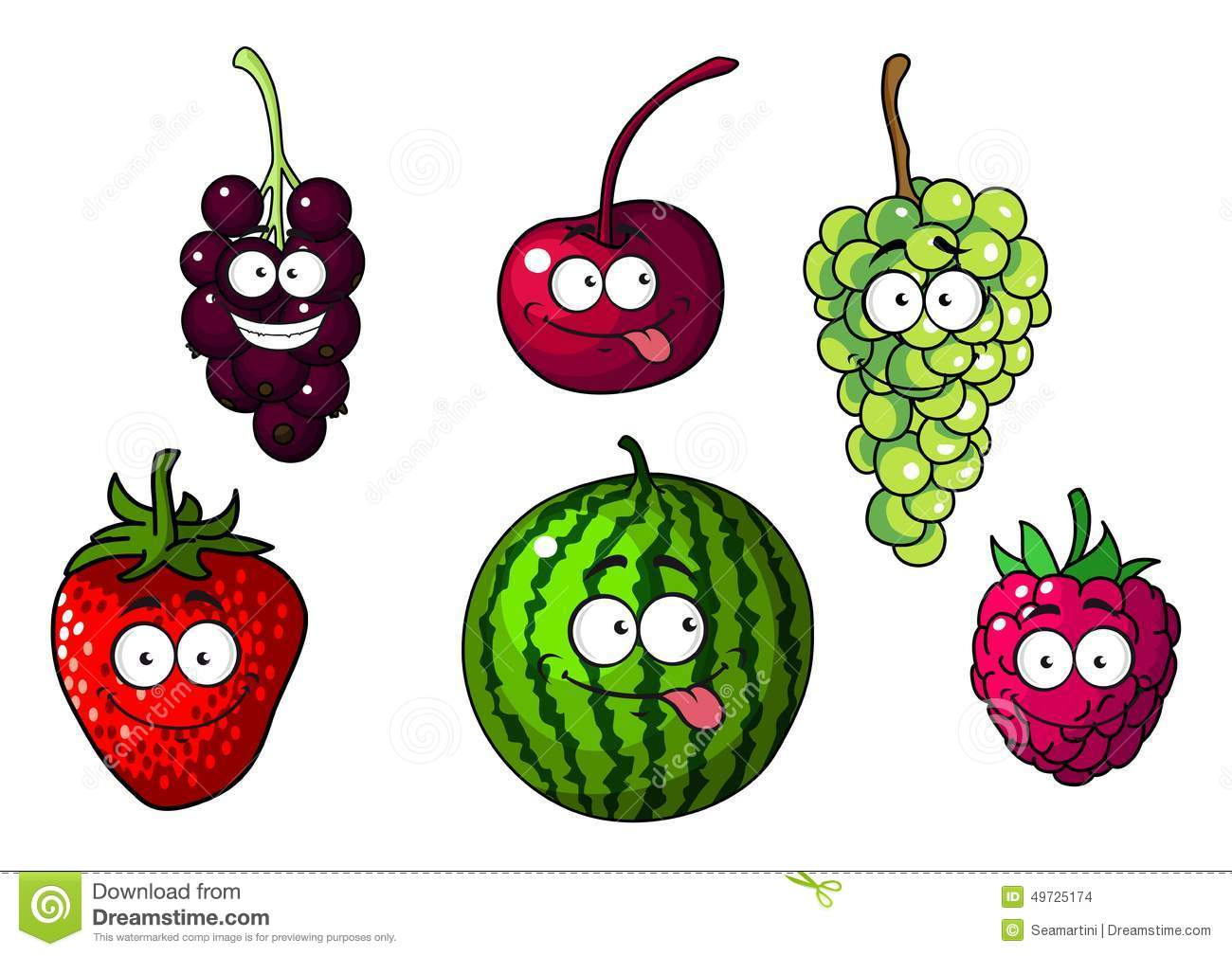Cute Happy Colorful Cartoon Fruits And Berries Stock Vector Image
