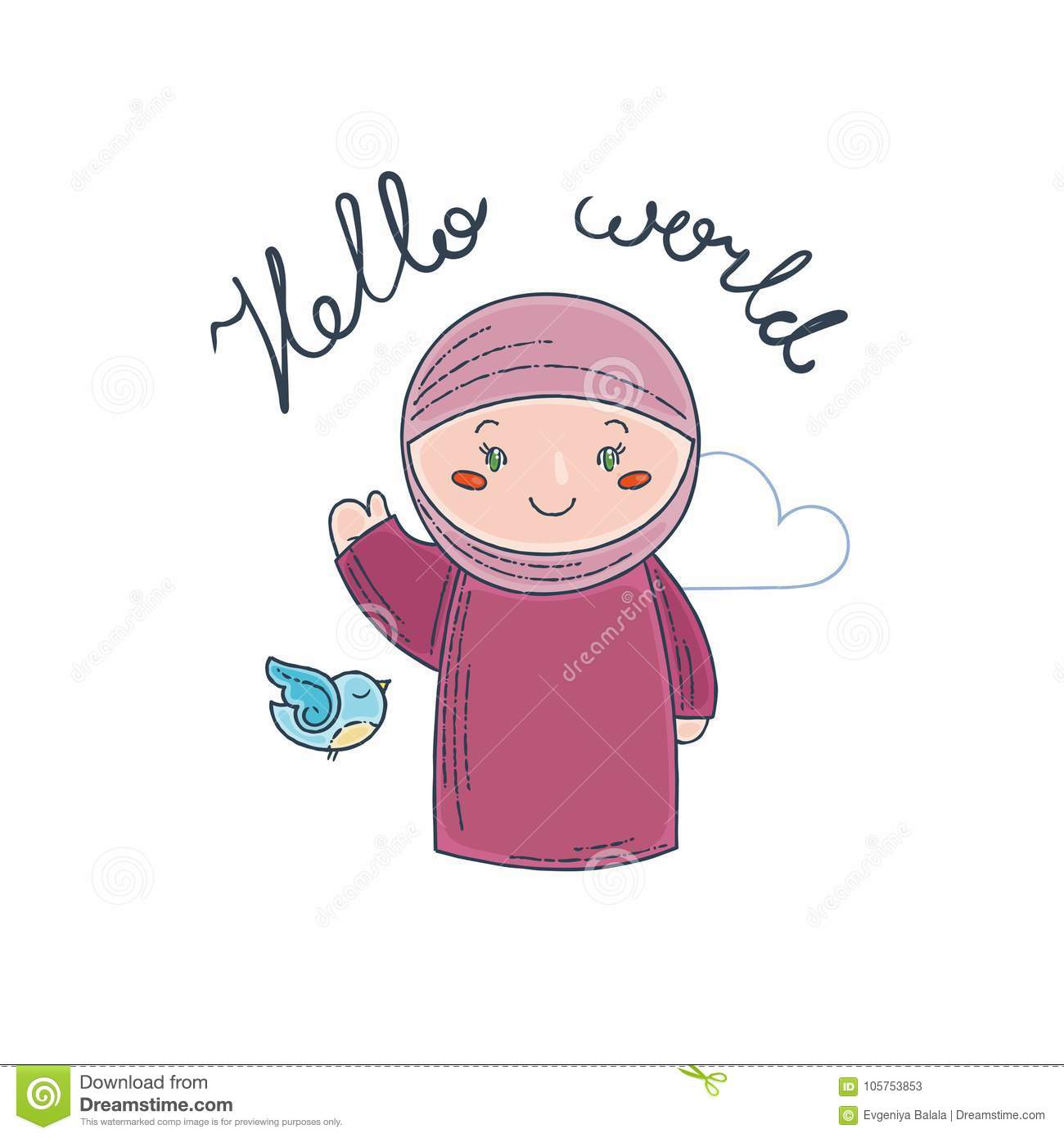 Cute And Happy Girl Say Hello  Stock Vector - Illustration of hello