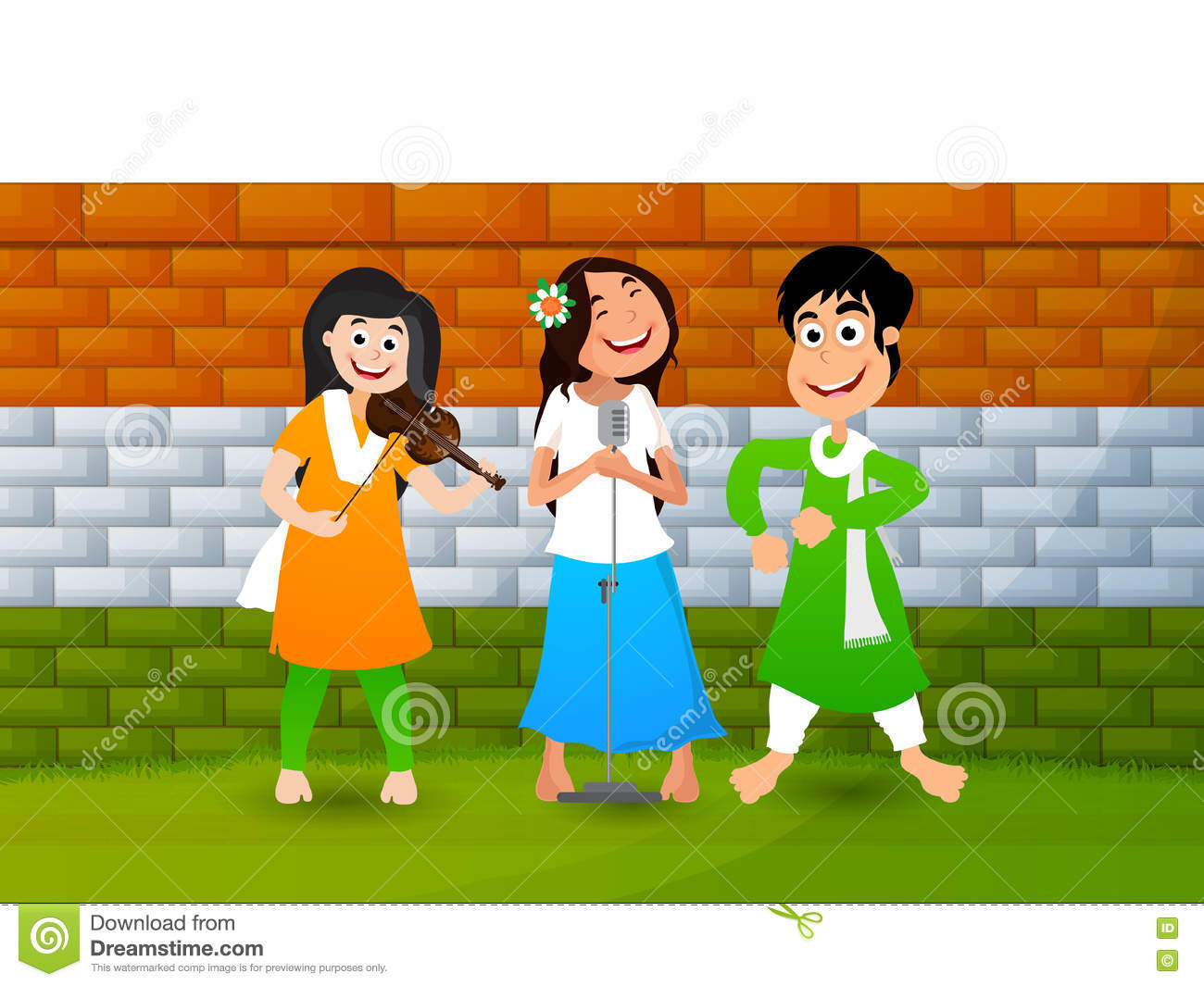 Cute Happy Girls For Indian Independence Day. Stock Illustration ...