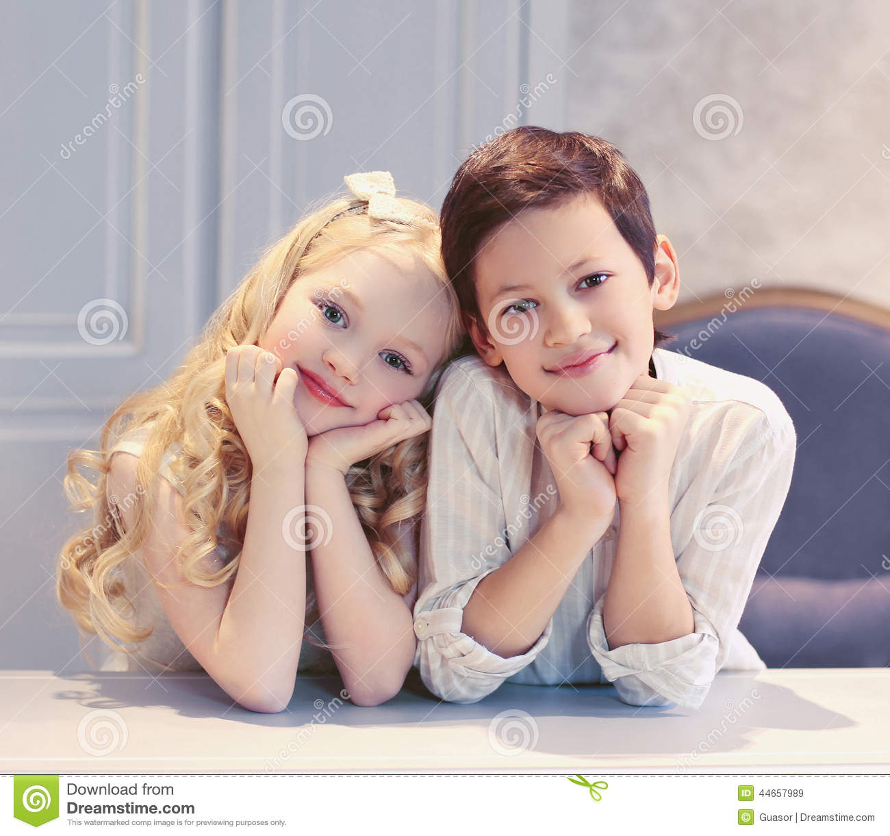 cute happy kids boy and girl stock image - image of calm, kind: 44657989