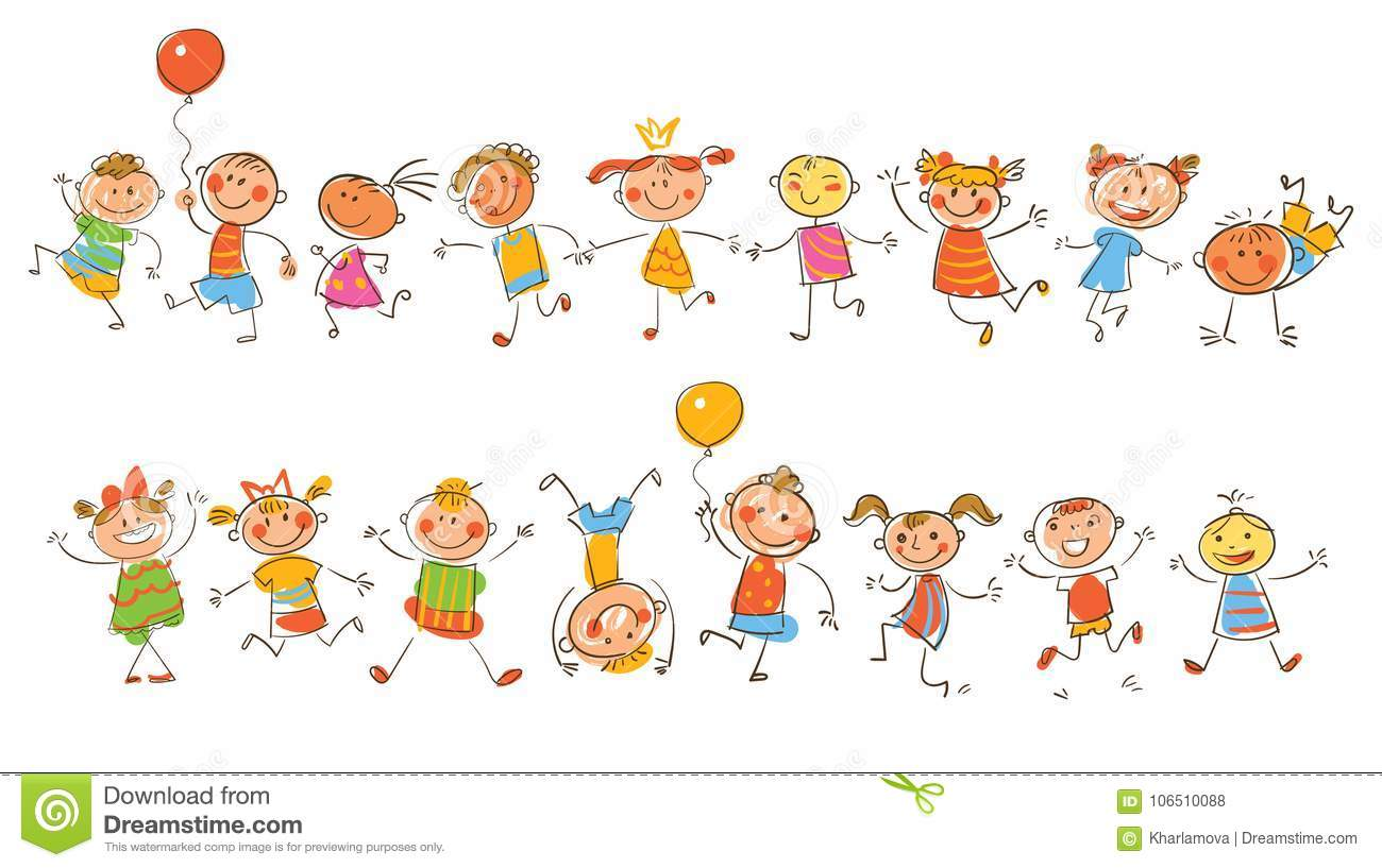 Cute Happy Kids In The Style Of Children S Drawings Stock Vector