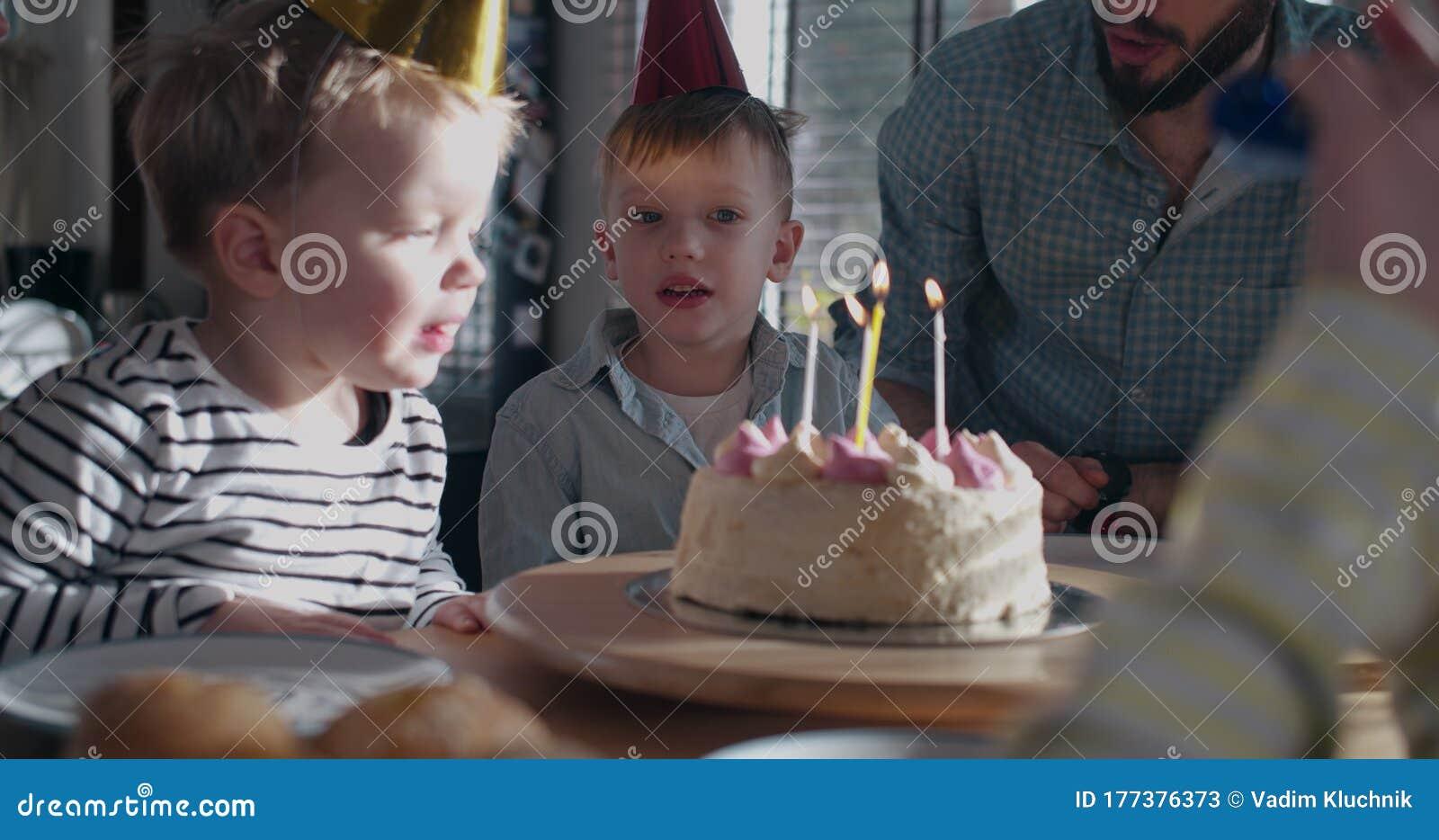 Phenomenal Cute Happy Little Caucasian Boy Child Making Wish Blowing On Funny Birthday Cards Online Bapapcheapnameinfo