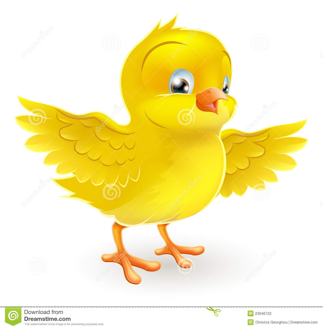 ... cute happy little yellow Easter chick with its wings outstretched