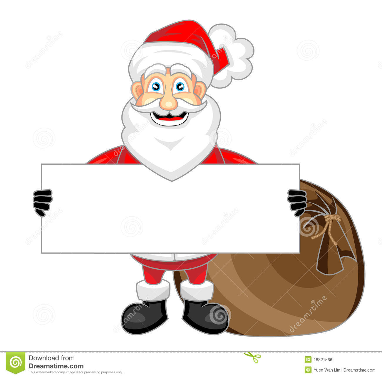 Cute Happy Looking Santa Claus Holding A Blank Sig Royalty Free Stock ...