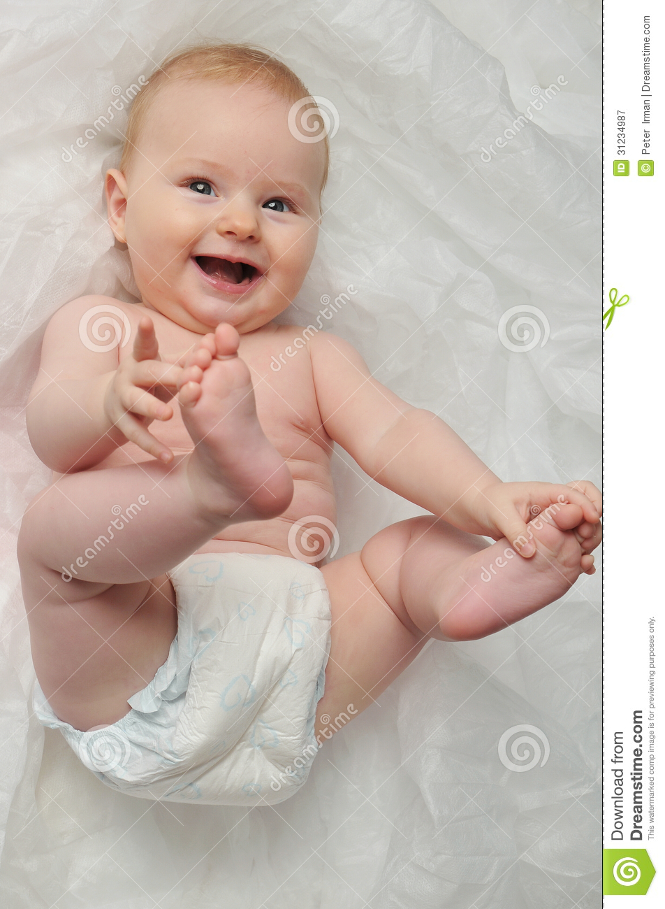 Cute Happy 7 Month Baby Girl Stock Image - Image of health ...