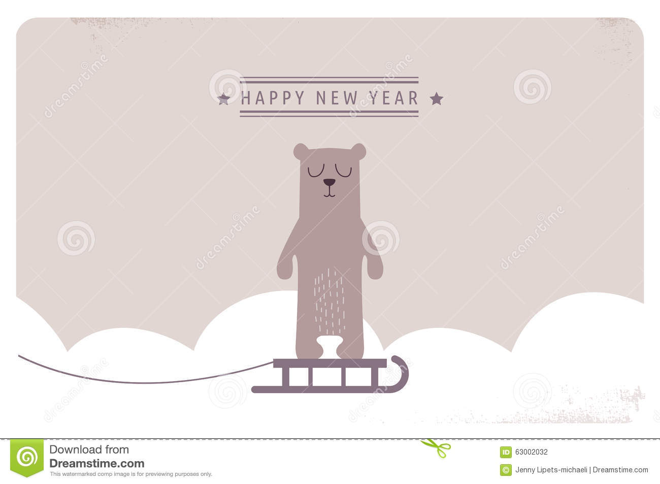 Cute Happy New Year Greeting Card Design Stock Vector Illustration