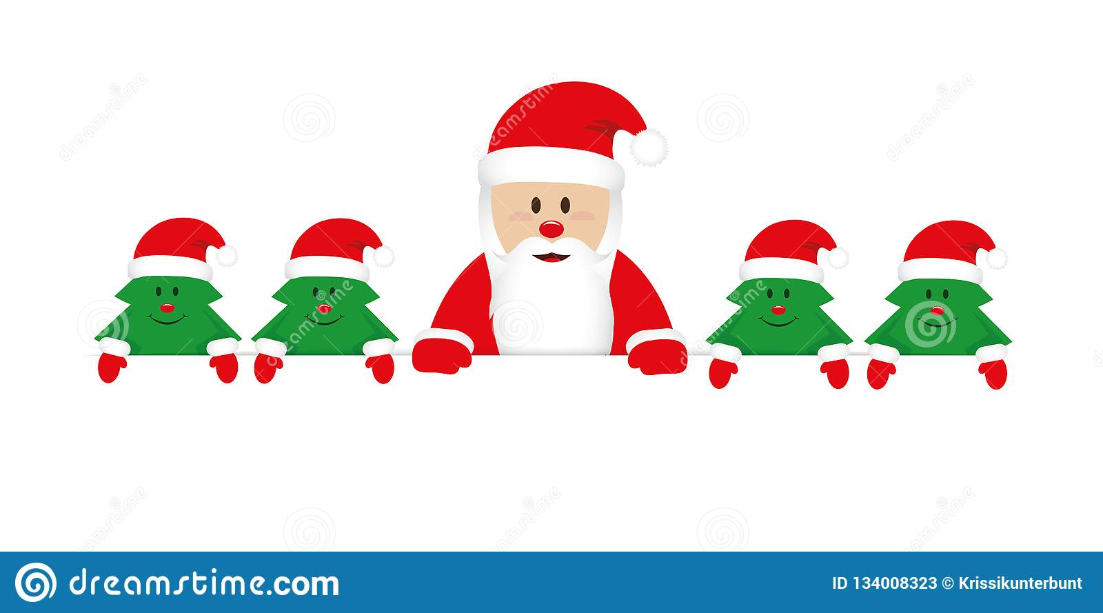 Cute happy santa claus with little christmas trees