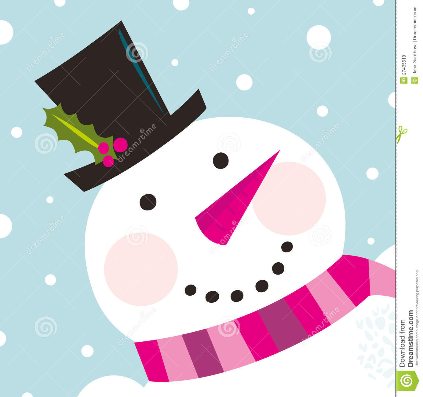 cute happy snowman face with snowing stock vector illustration of