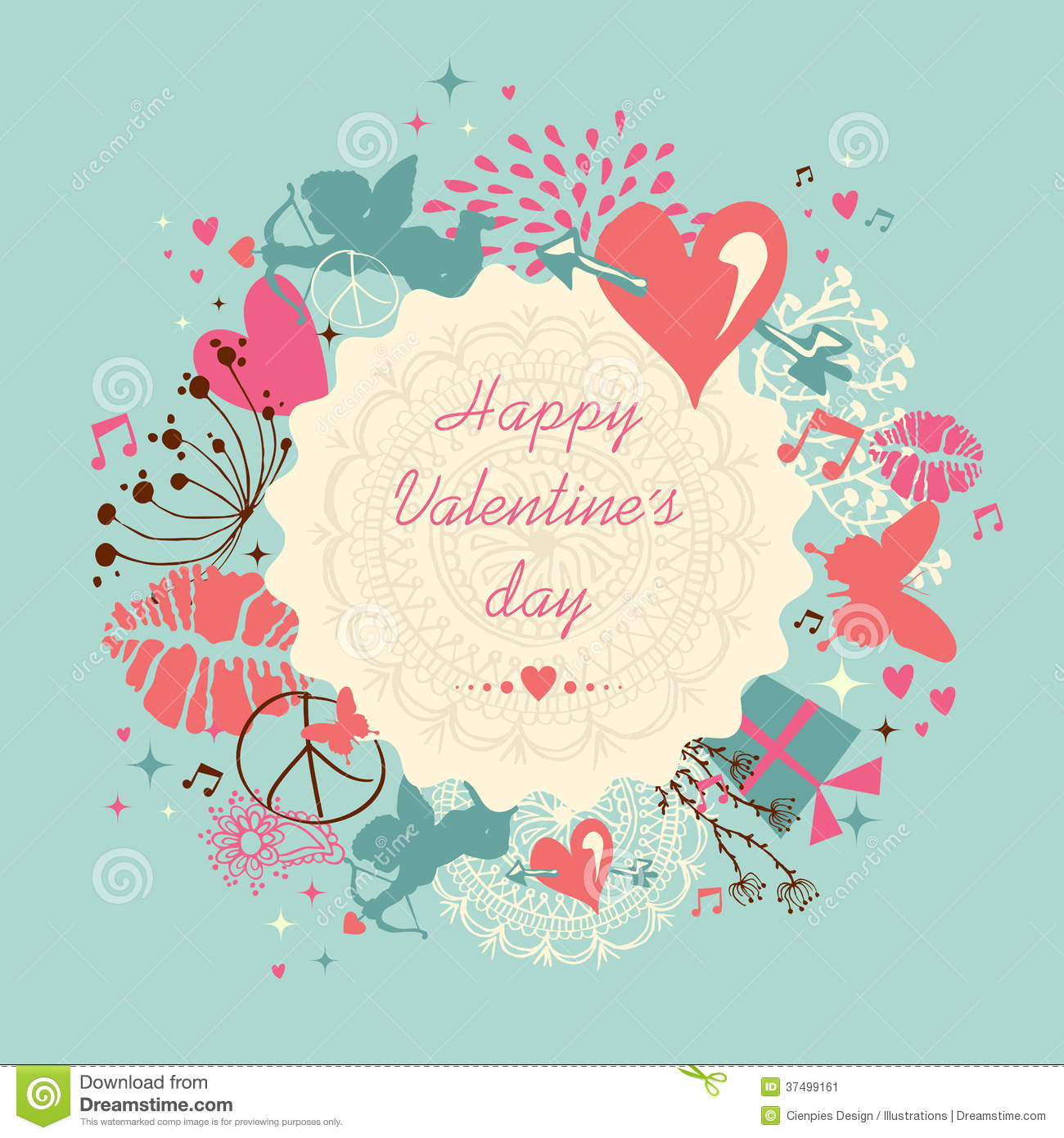 Valentine S Day Vintage Toys : Cute happy valentine`s day greeting card stock vector