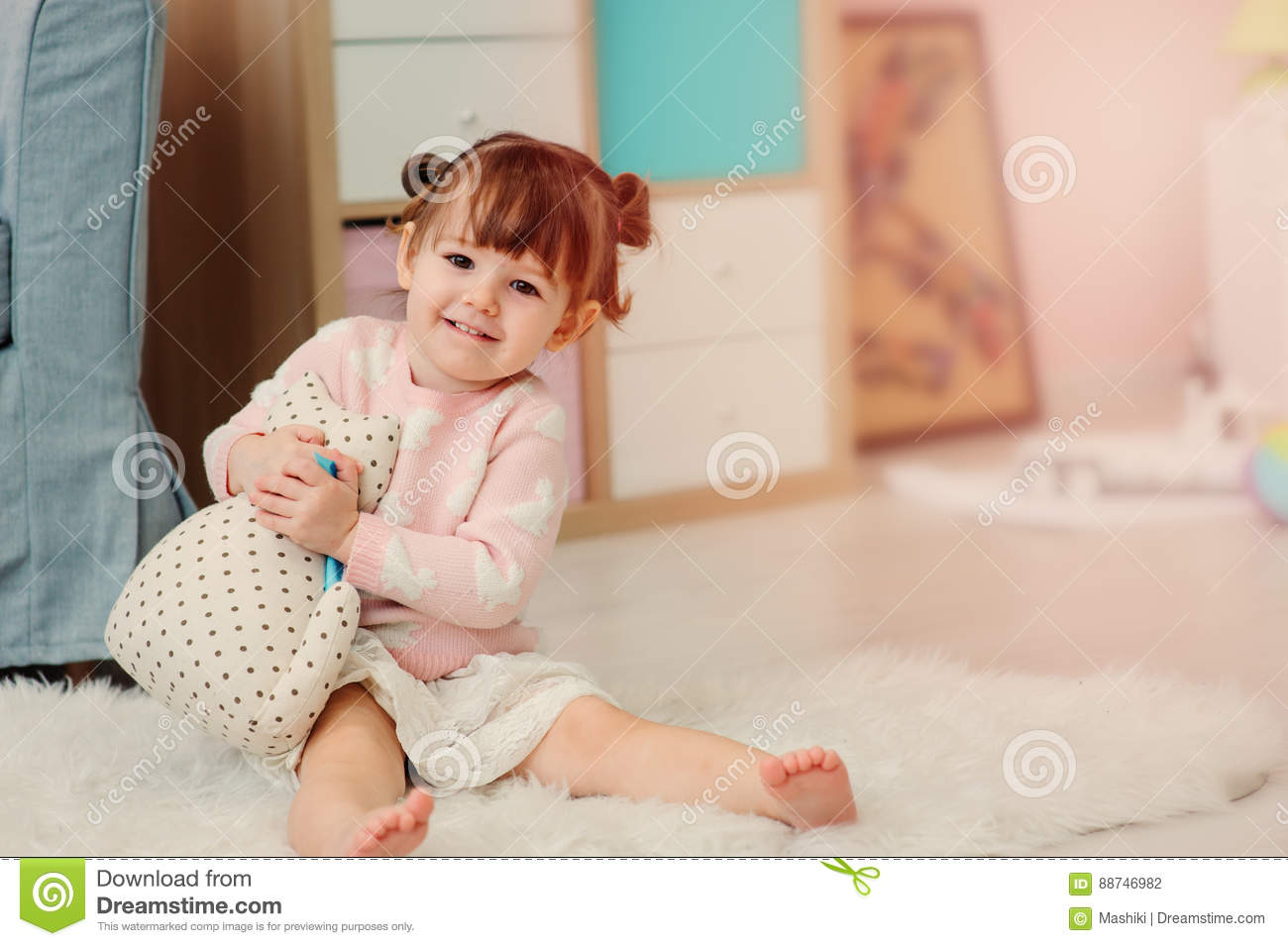 10caf6d5c6ee Cute Happy 2 Years Old Baby Girl Playing With Toys At Home Stock ...