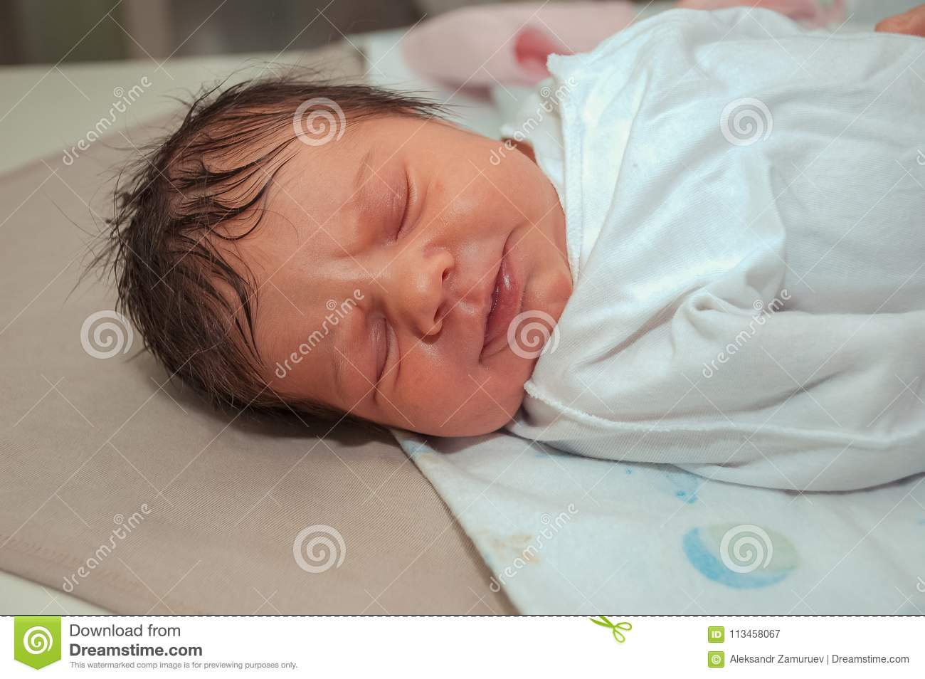 Cute healthy new born baby portrait