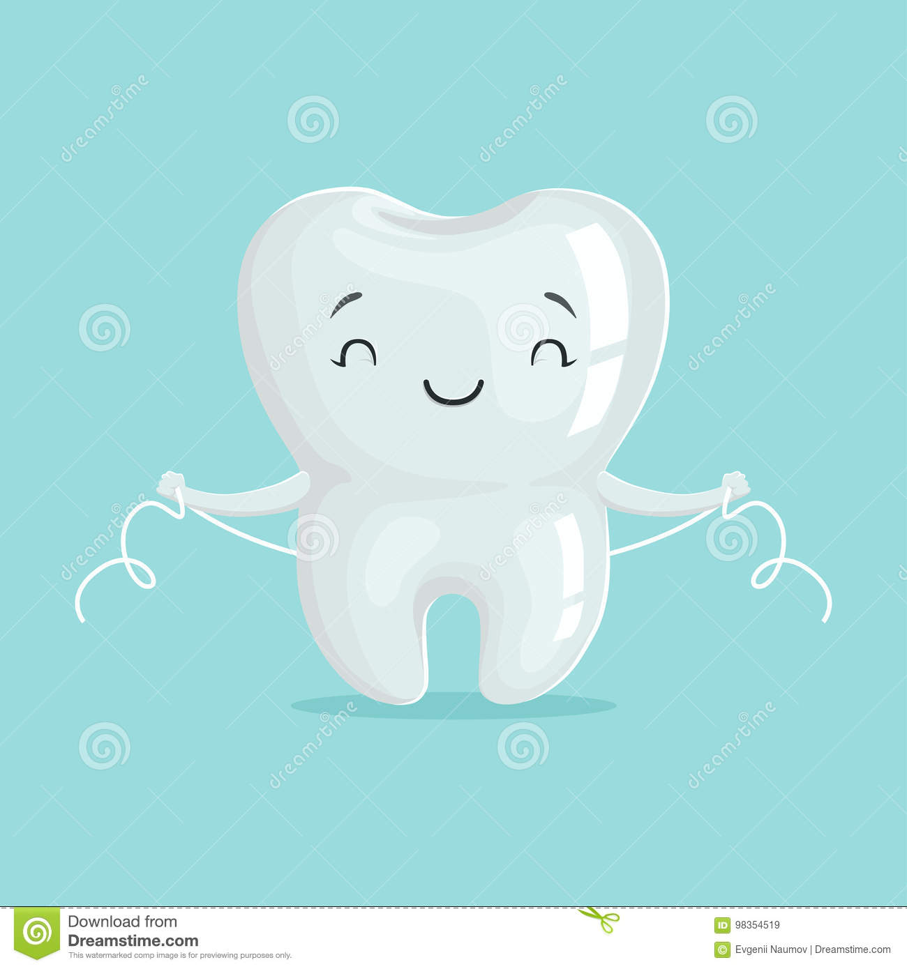 Cute healthy white cartoon tooth character cleaning itself with dental floss, oral dental hygiene, childrens dentistry