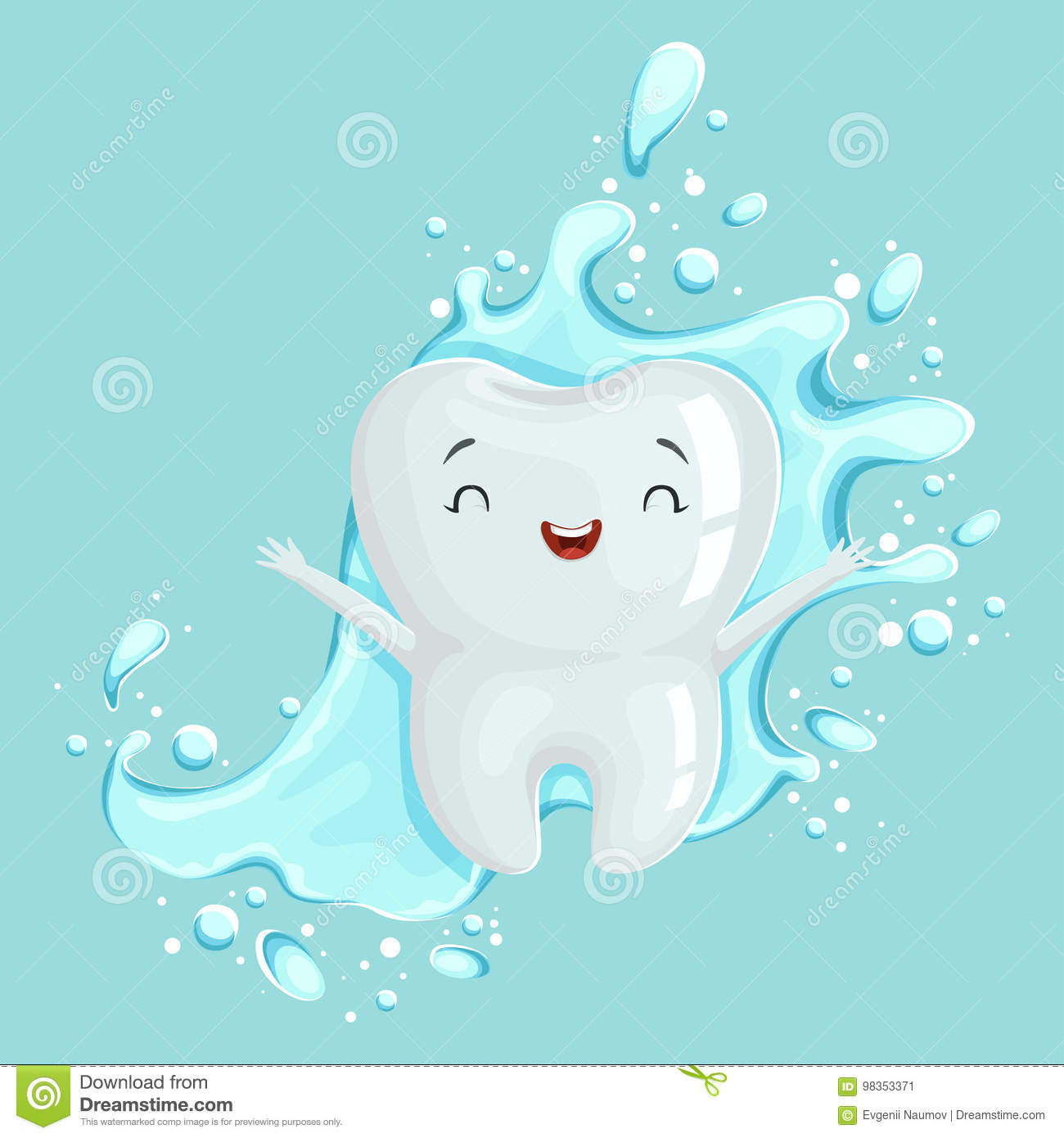 Cute healthy white cartoon tooth character with mouthwash, oral dental hygiene, childrens dentistry concept vector