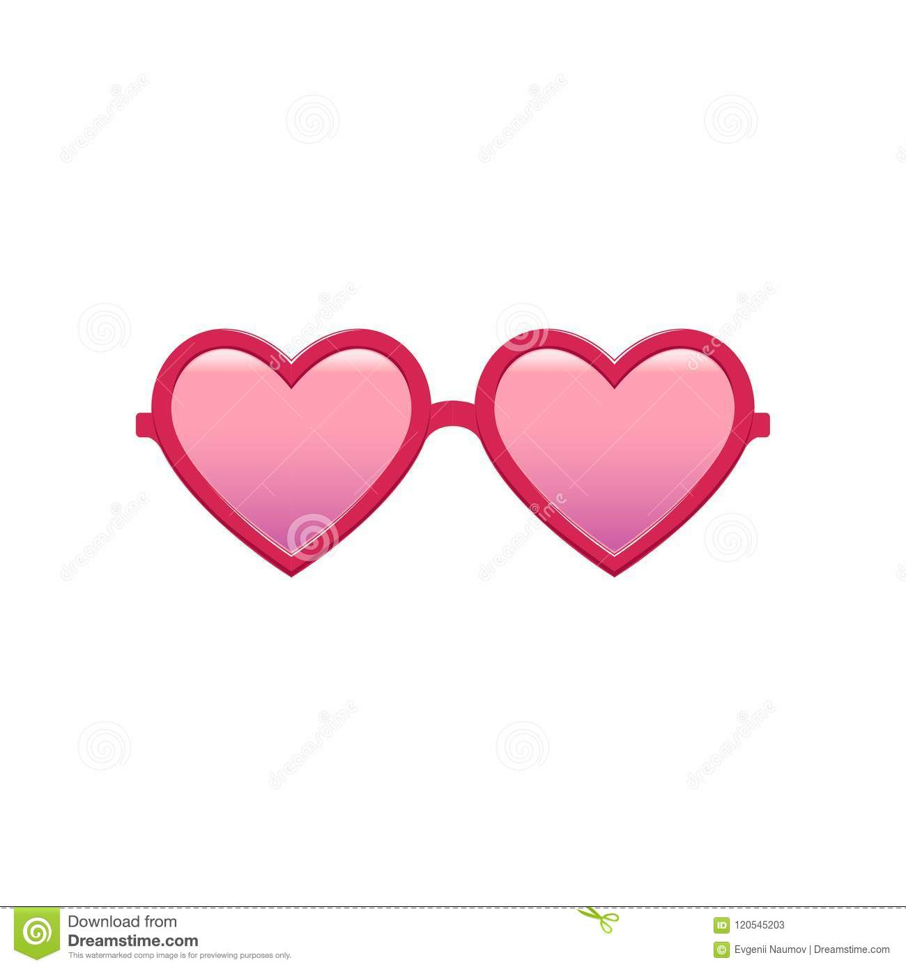 Cute heart-shaped sunglasses with pink tinted lenses and plastic frame. Fashion women`s accessory. Protective eyewear