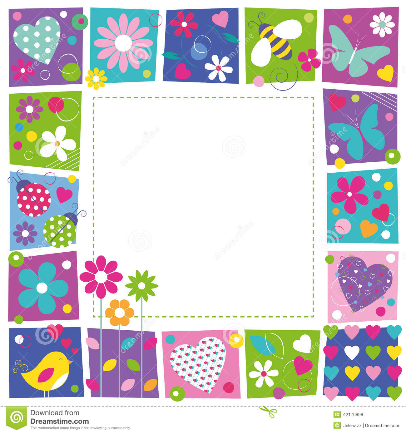 Cute Hearts Flowers And Butterflies Border Stock Vector