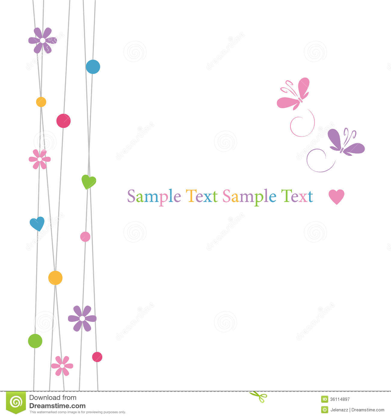 Cute hearts flowers dots and butterflies greeting card stock royalty free stock photo kristyandbryce Choice Image