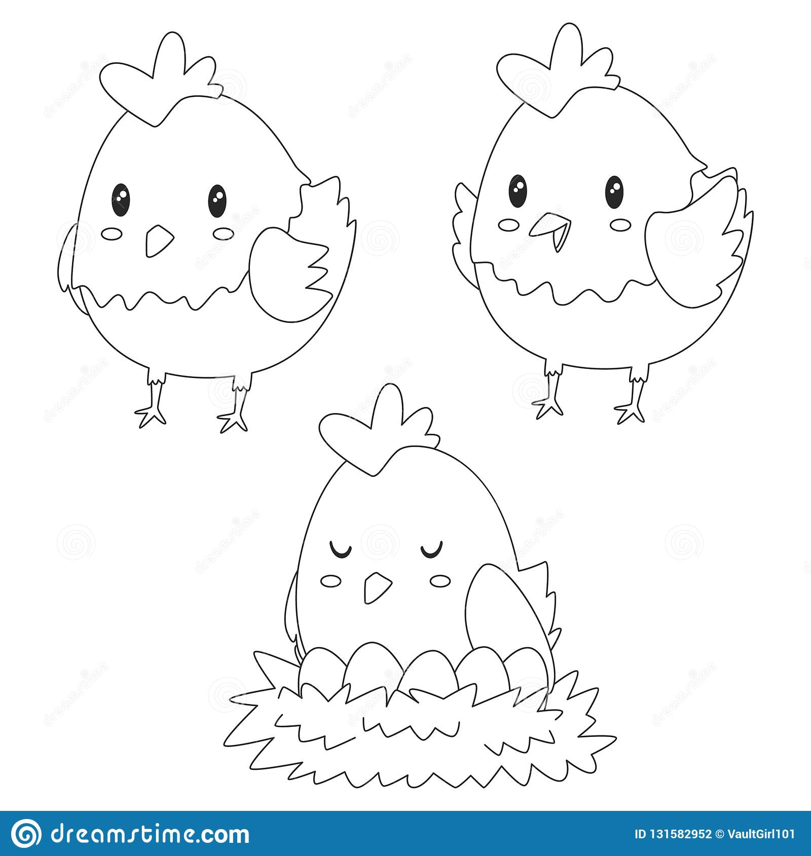image regarding Chicken Printable titled Lovable Chook, Fowl Coloring Webpage Vector Layout Inventory Vector