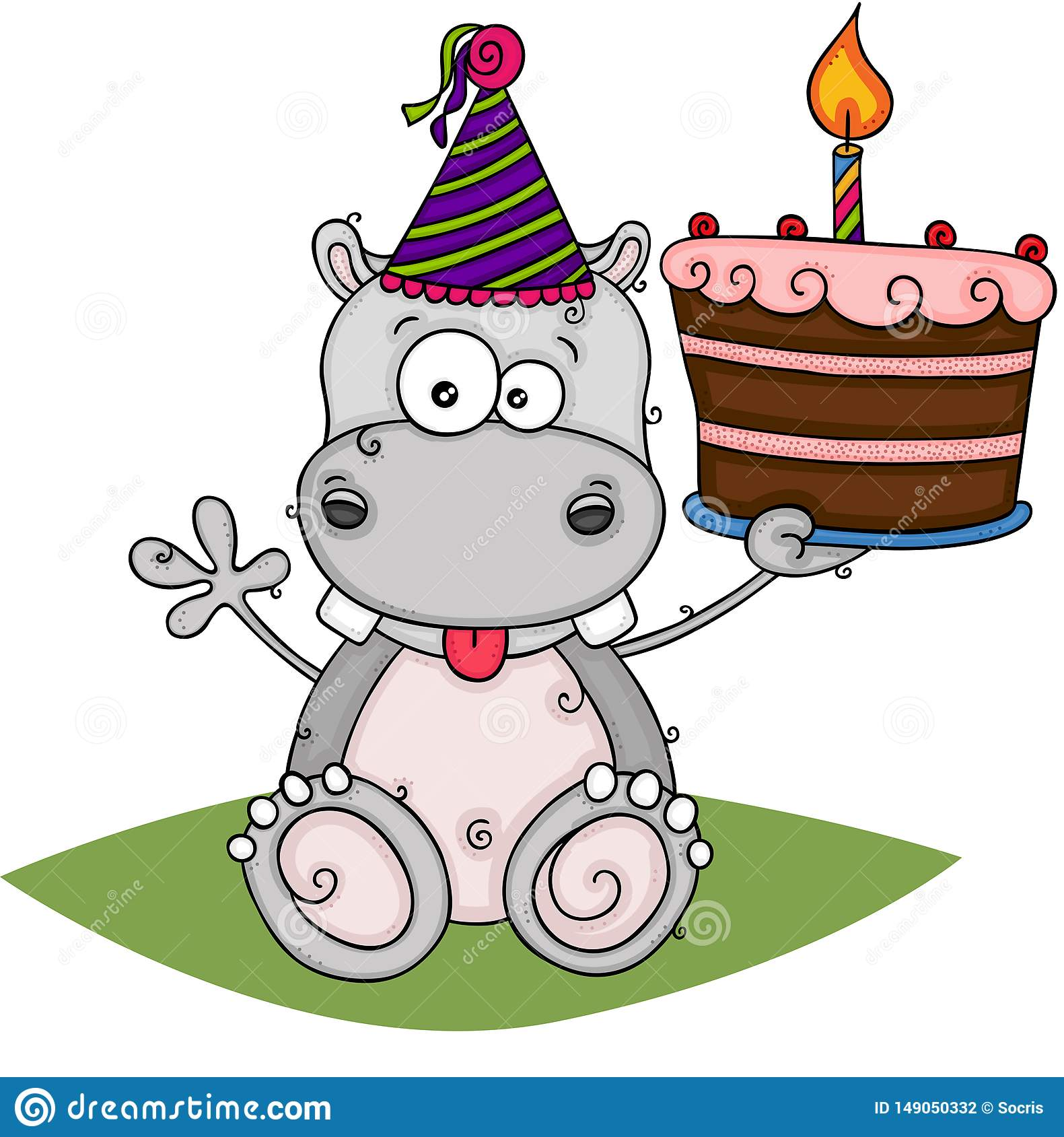 Marvelous Cute Hippo Holding A Birthday Cake Stock Vector Illustration Of Personalised Birthday Cards Akebfashionlily Jamesorg