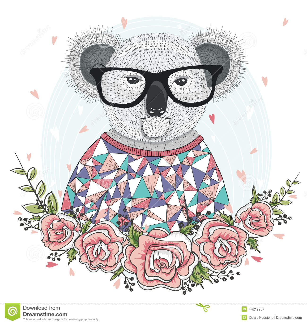 Cute hipster koala with glasses