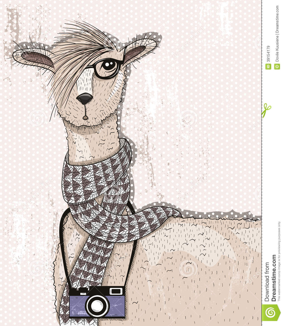 Cute hipster lama with photo camera