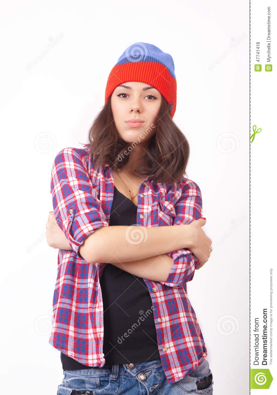 58a6e372fdf Cute Hipster Teenage Girl With Beanie Hat Stock Photo - Image of ...