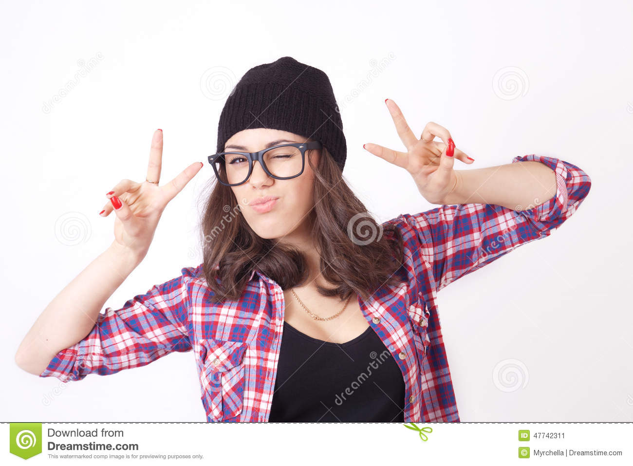 6d1bf361d34 Cute Hipster Teenage Girl With Beanie Hat Stock Image - Image of ...