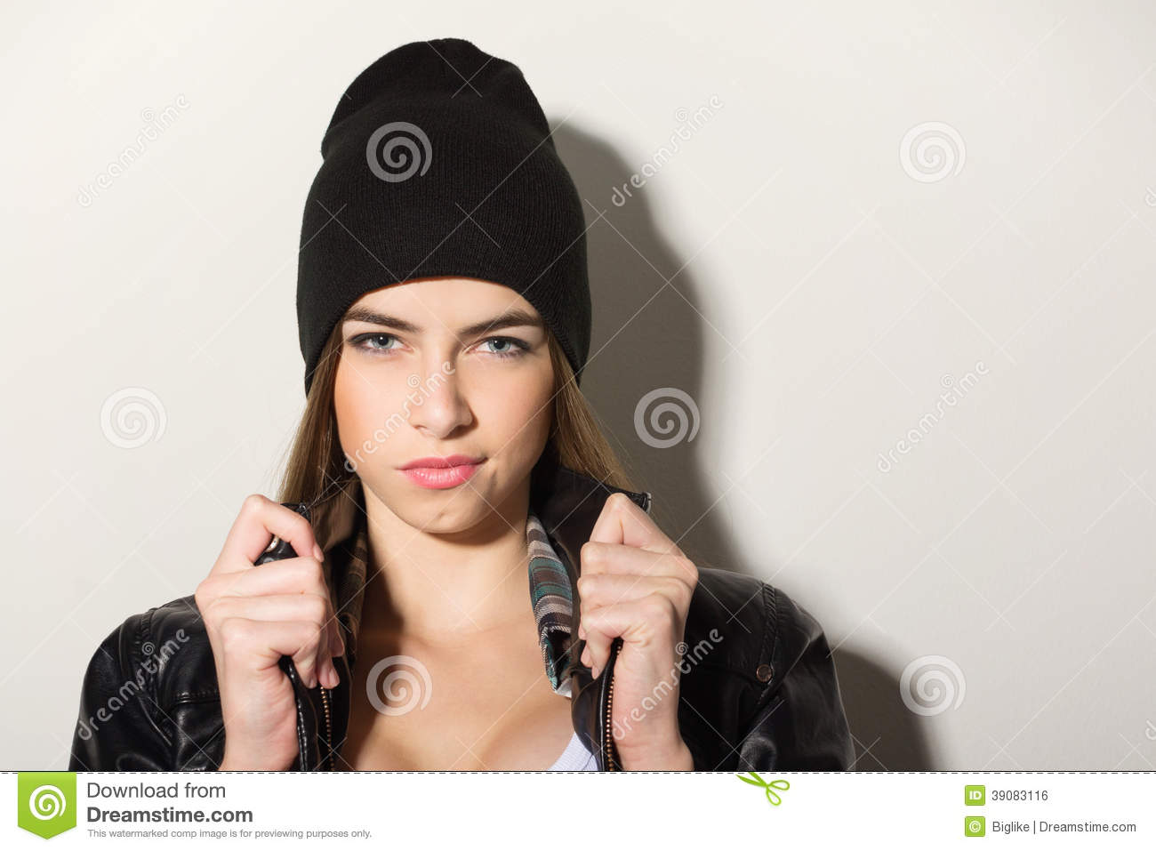 Cute Hipster Teenage Girl With Black Beanie Hat Stock Photo  Image