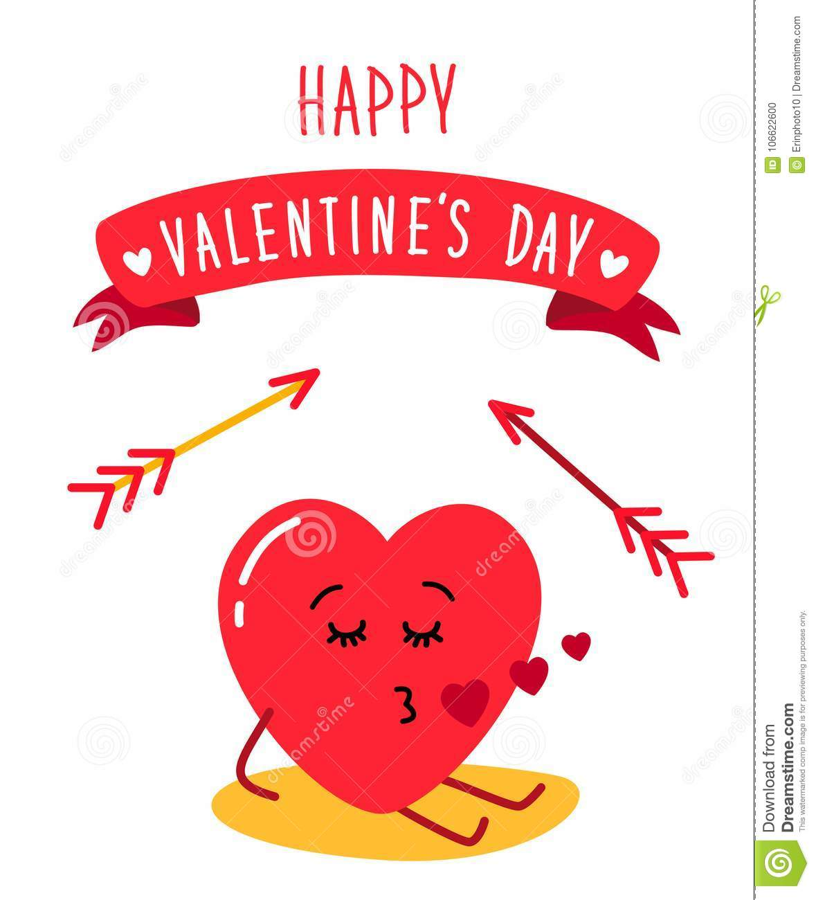 Cute Holiday Valentines Day Card With Funny Cartoon Character Of