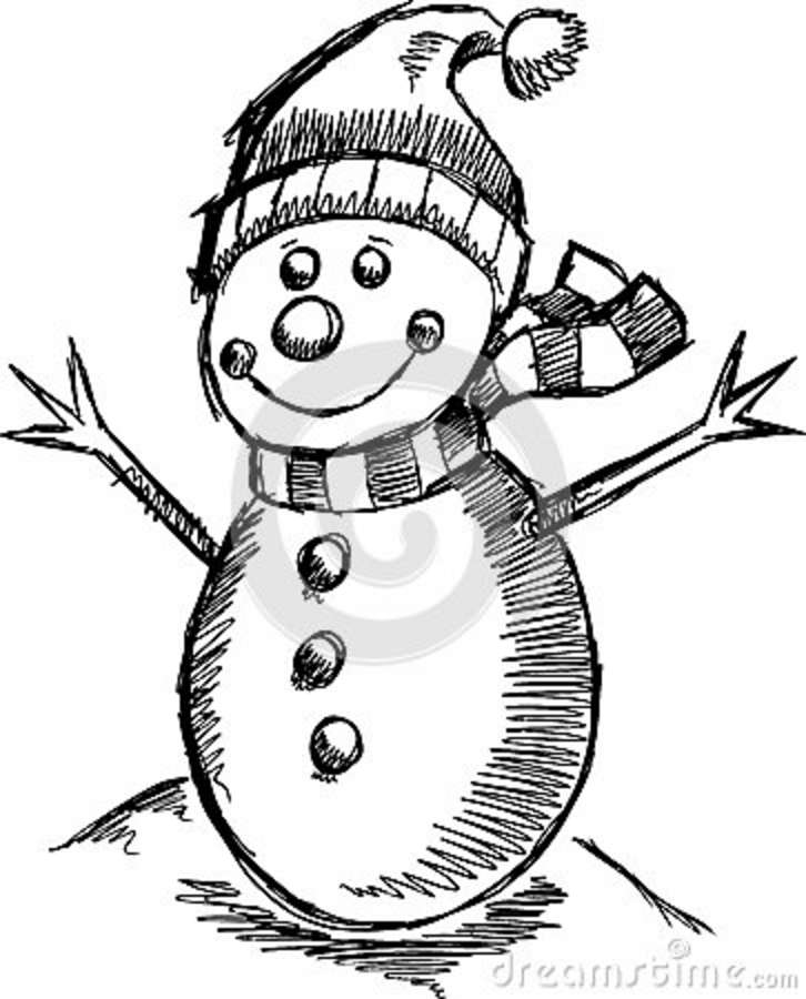 Cute Holiday Winter Sketch Snowman Stock Vector