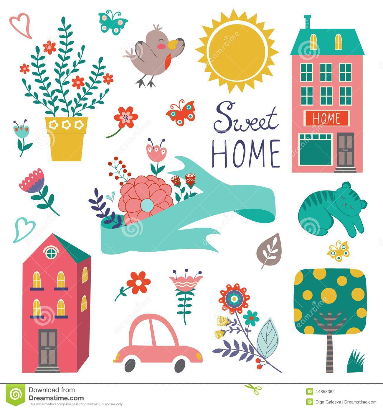 Cute Home Sweet Collection Stock Vector Image 44853362
