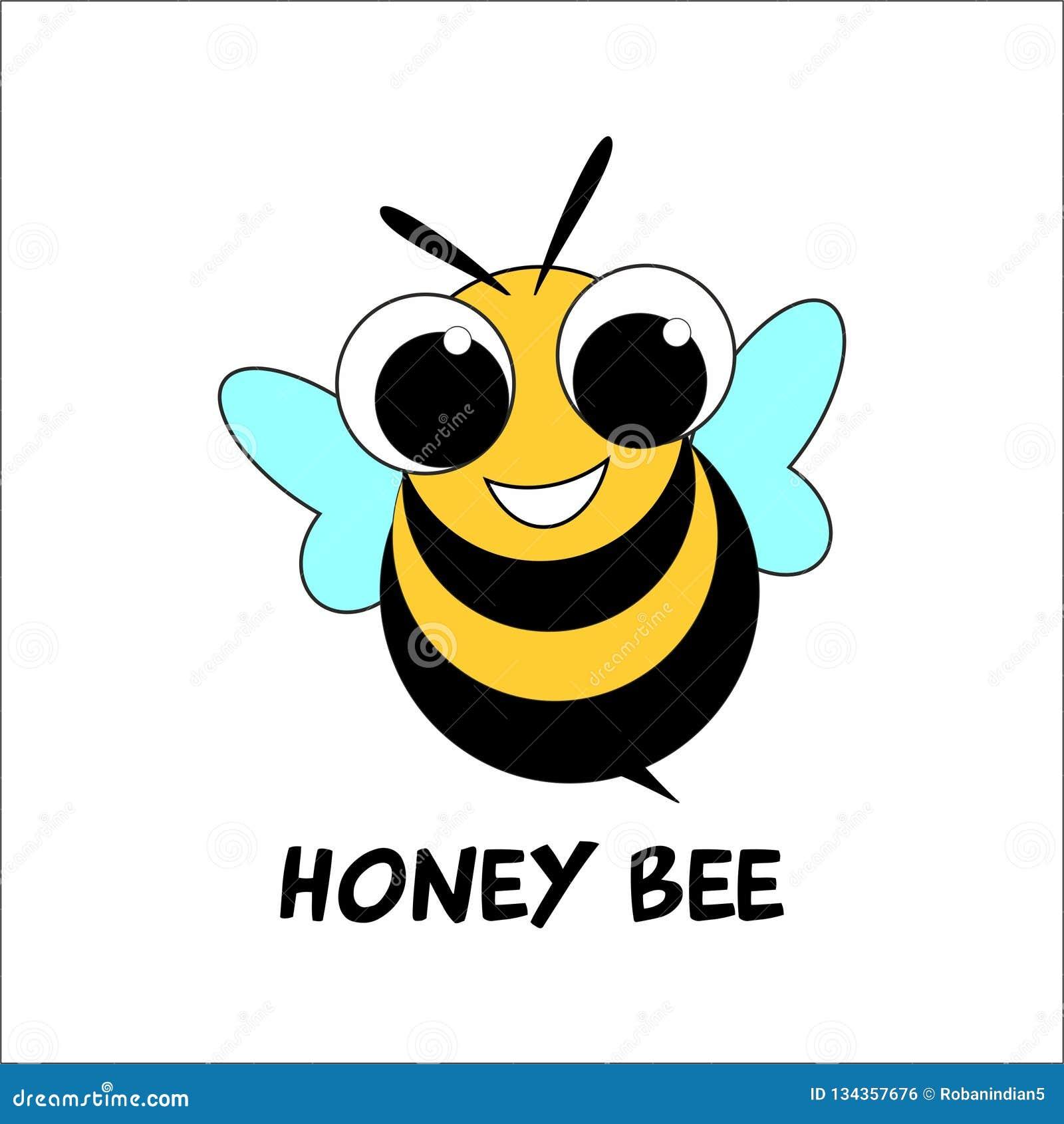 Cute Honey Bee Logo Design Stock Vector. Illustration Of