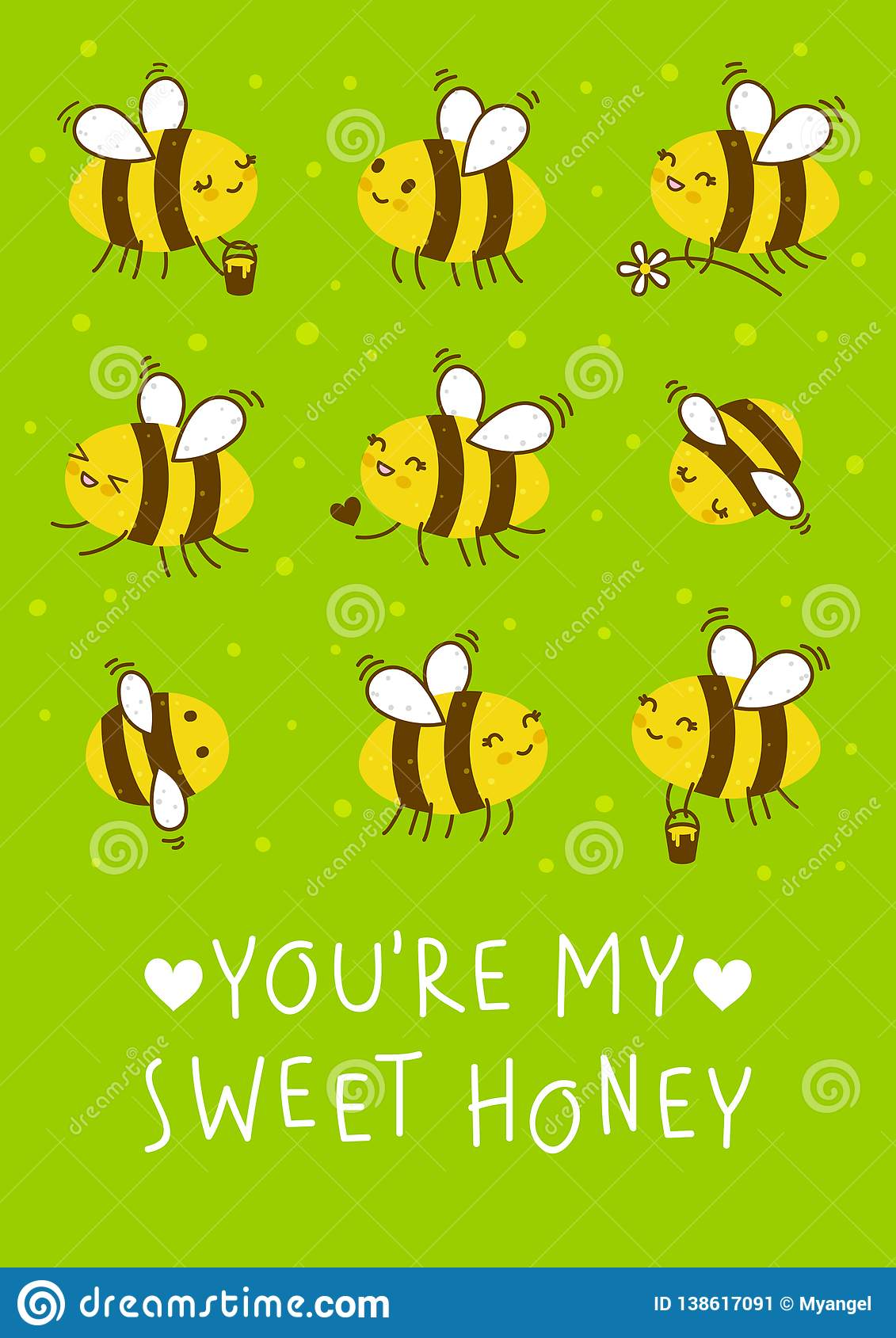 Cute honey bees on green