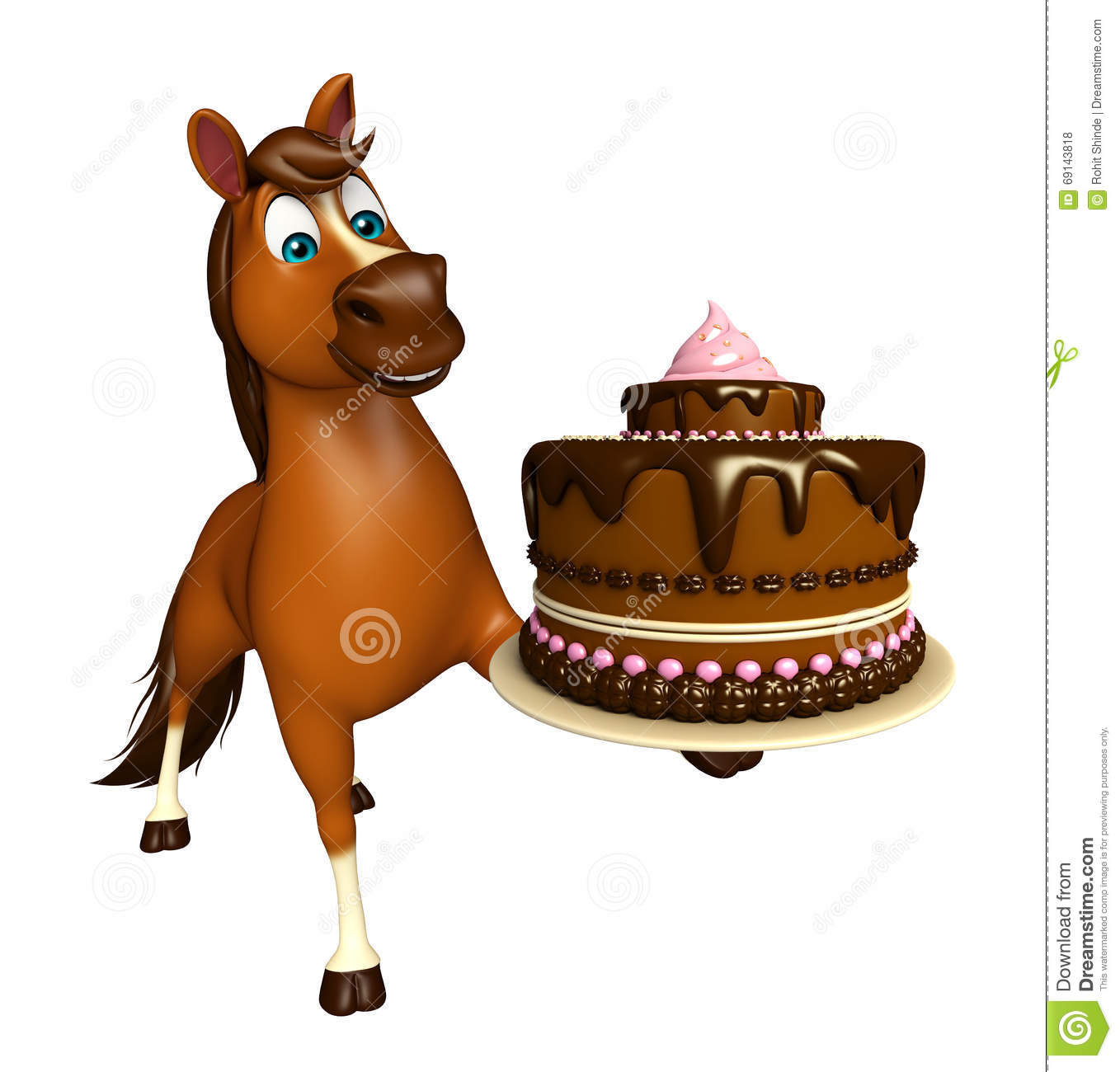Cute Horse Cartoon Character With Cake Stock Illustration Illustration Of Horse Frosted 69143818