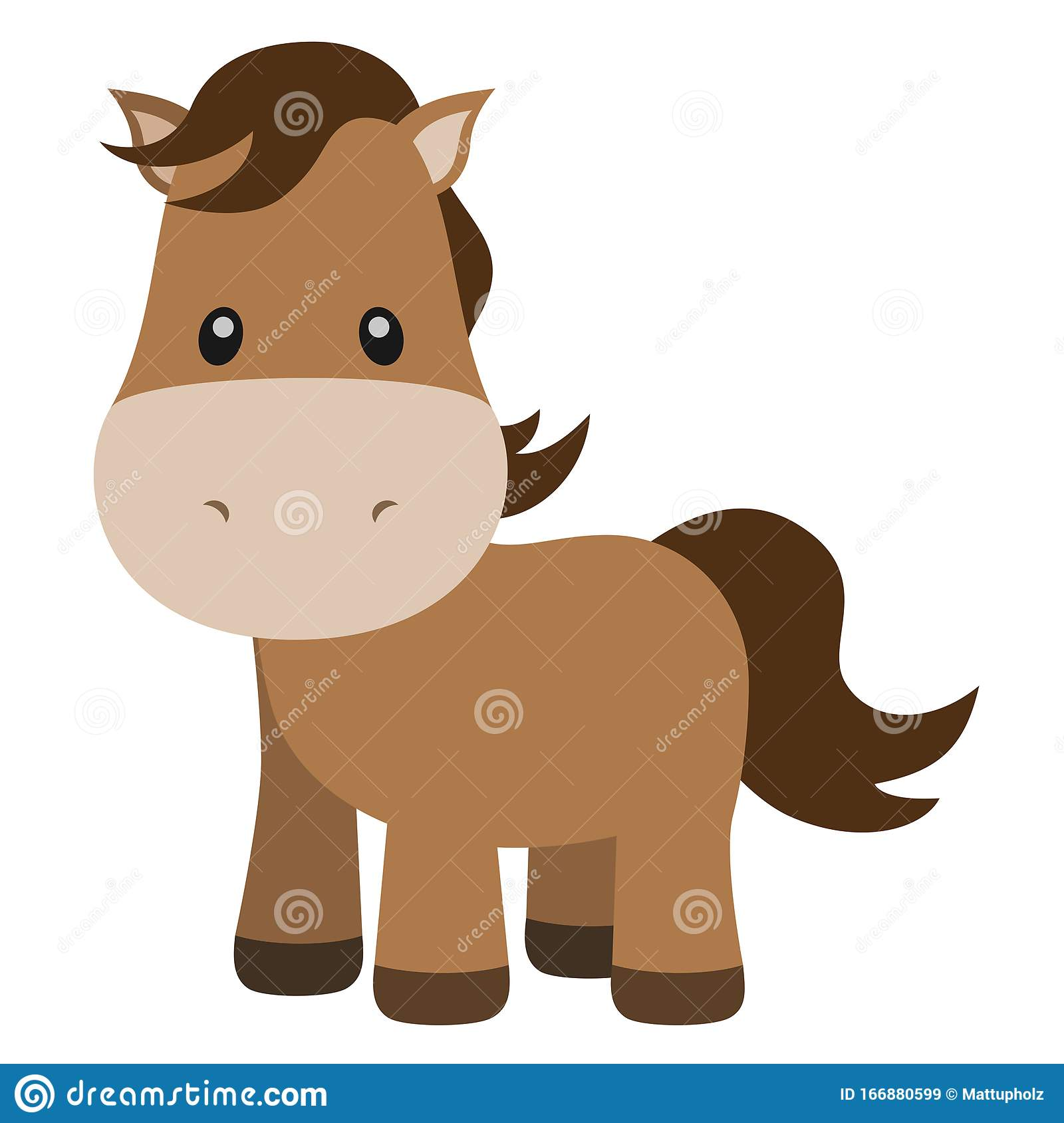 Cute Horse Cartoon Illustration On White Stock Vector Illustration Of Drawing Isolated 166880599