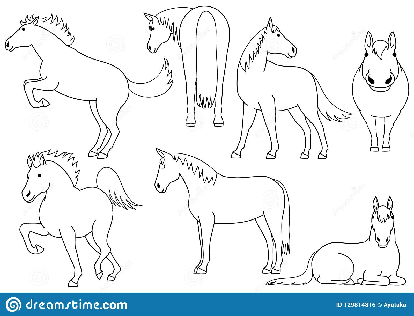 Cute And Simple Horse Doodle Drawing Set Stock Vector Illustration Of Full Back 129814816