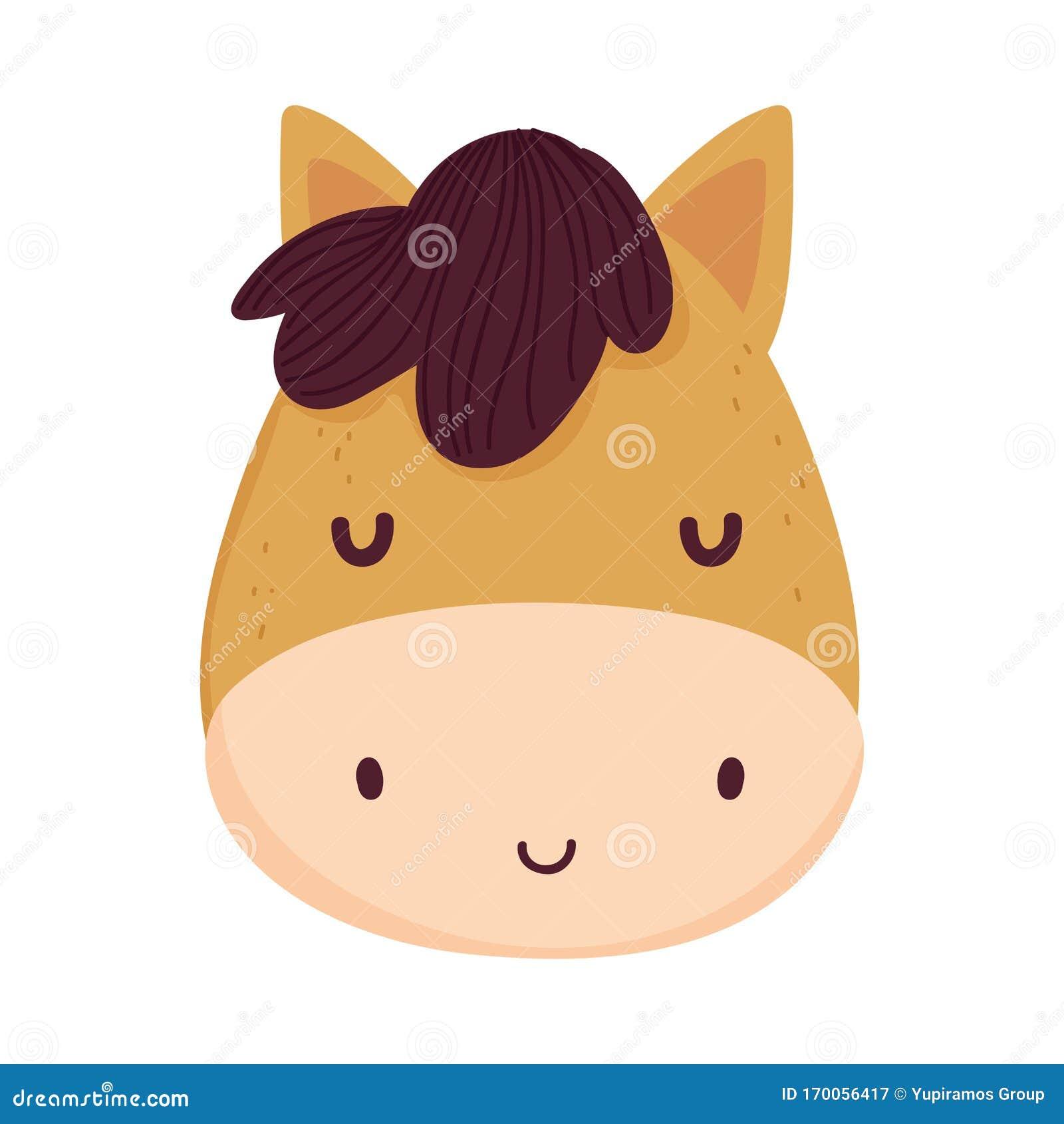 Cute Horse Face Livestock Farm Animal Cartoon Stock Vector ...