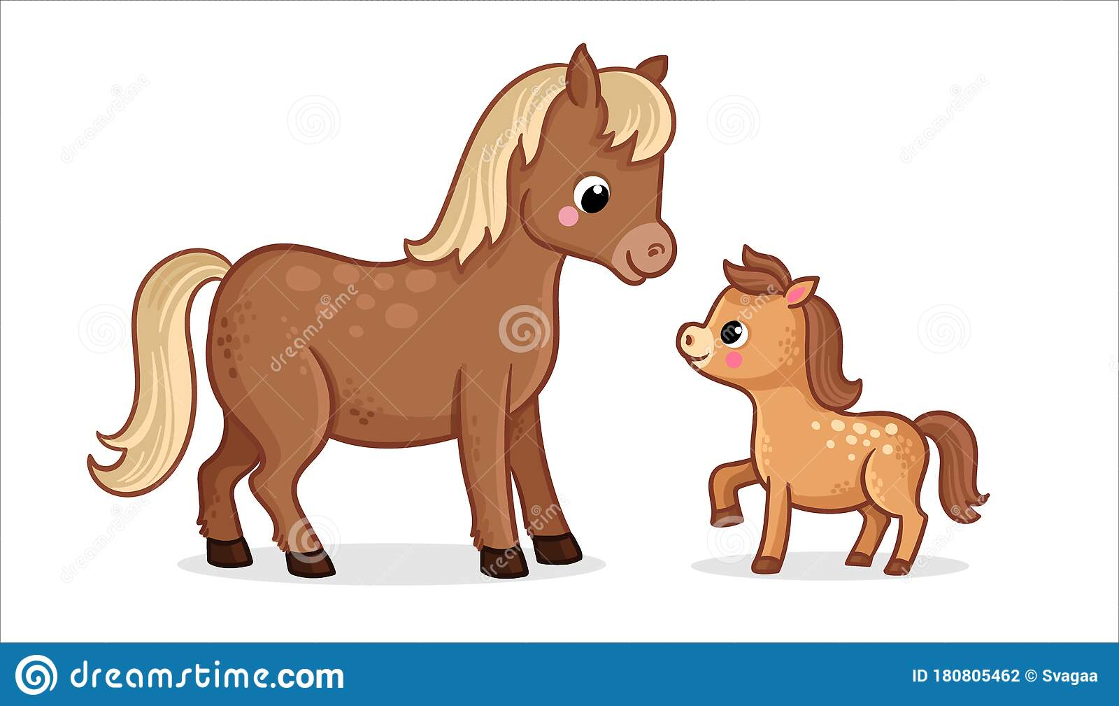 Cute Horse With Foal On A White Background In Cartoon Style Vector Illustration Stock Illustration Illustration Of Friendly Kids 180805462