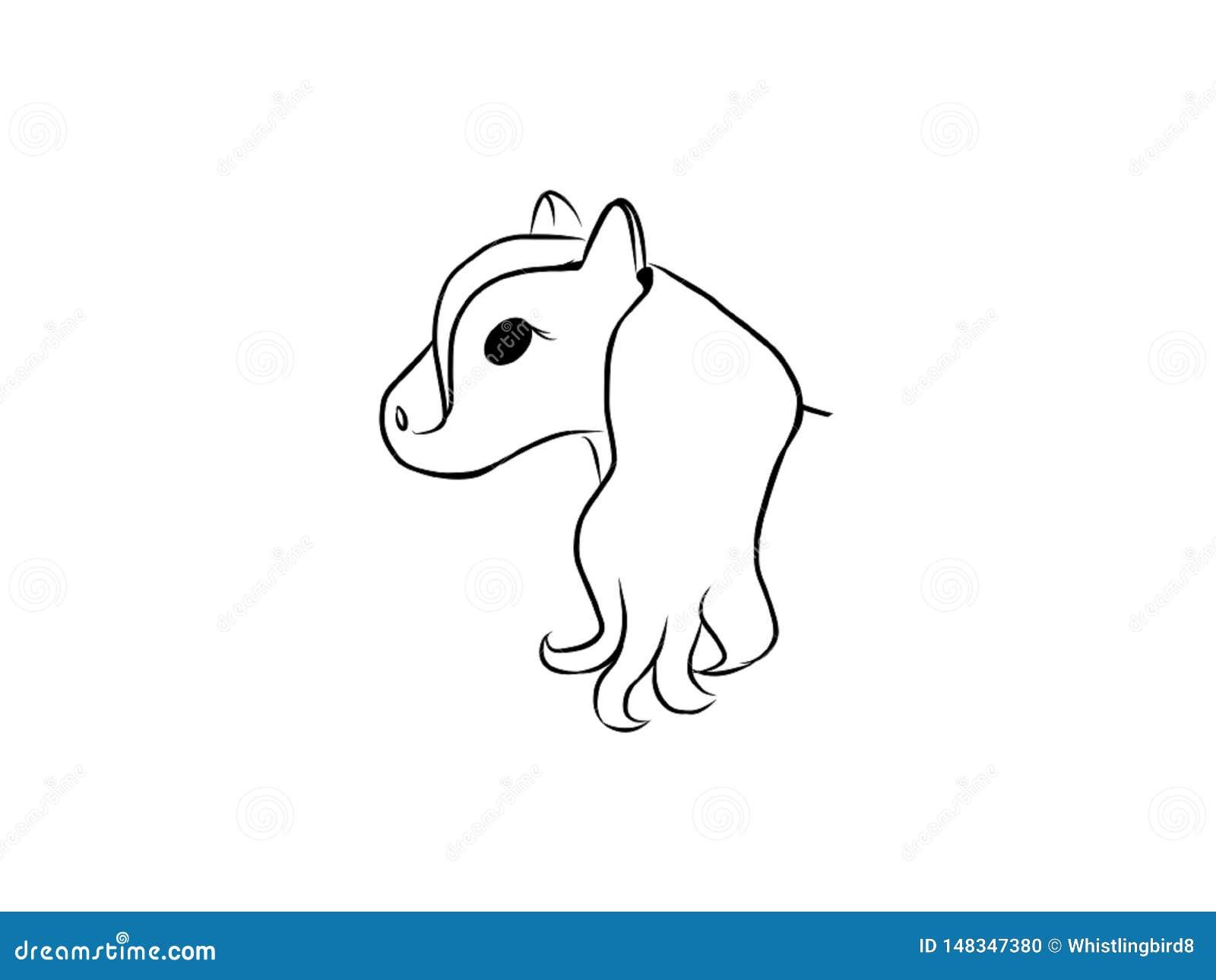 Head Of Horse Cartoon White Background Stock Illustration Illustration Of Kawaii Simple 148347380
