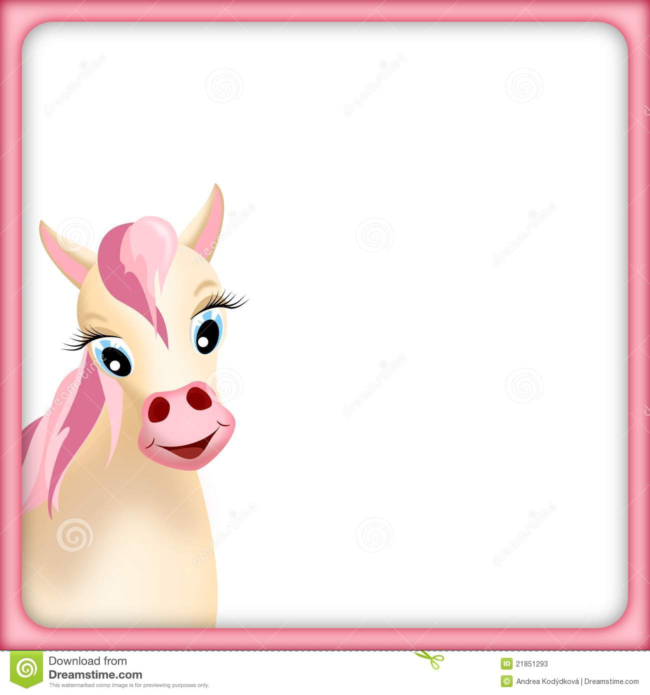 Cute beige horse in empty frame with pink mane and pink border ...