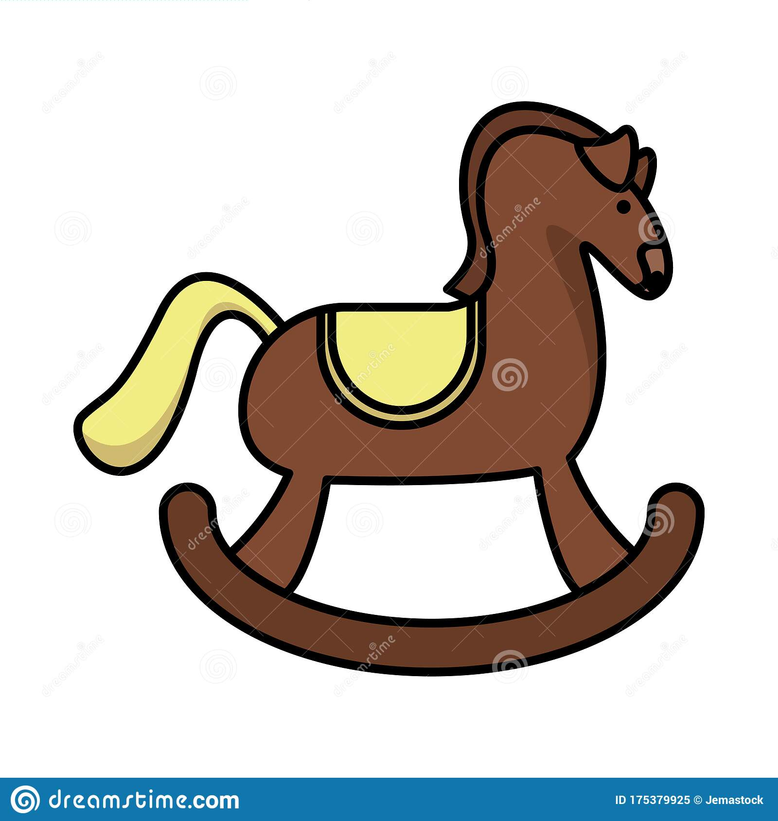 Cute Horse Wooden Child Toy Flat Style Icon Stock Vector Illustration Of Clipart Isolated 175379925