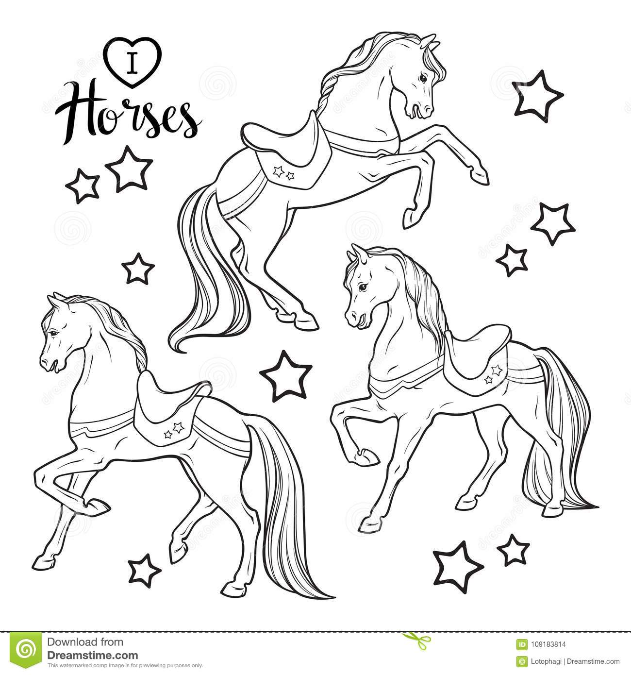 Cute Horses And Stars Set Isolated Vector Illustration. Coloring ...